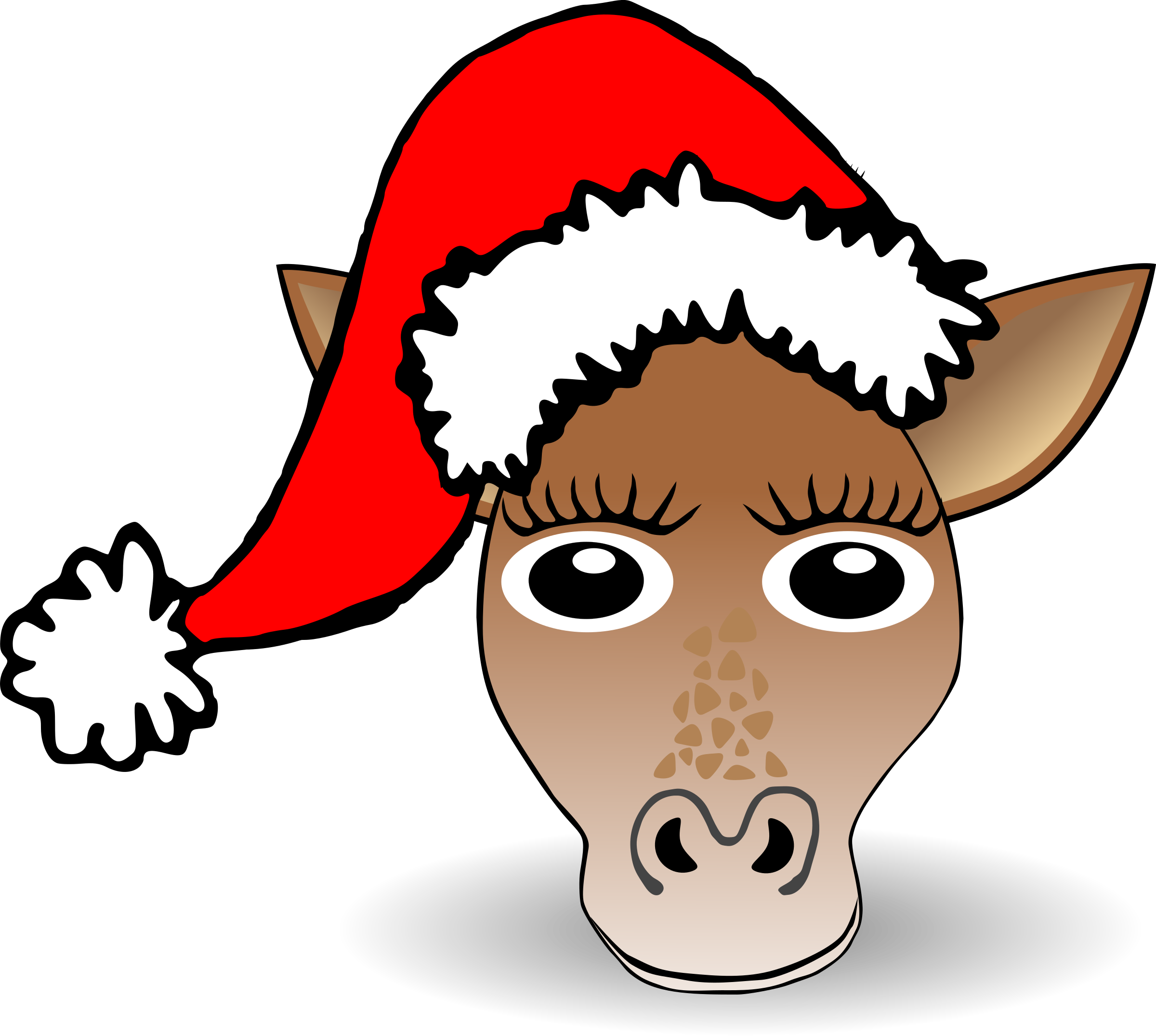 Funny Giraffe Face Cartoon with Santa Claus hat by palomaironique