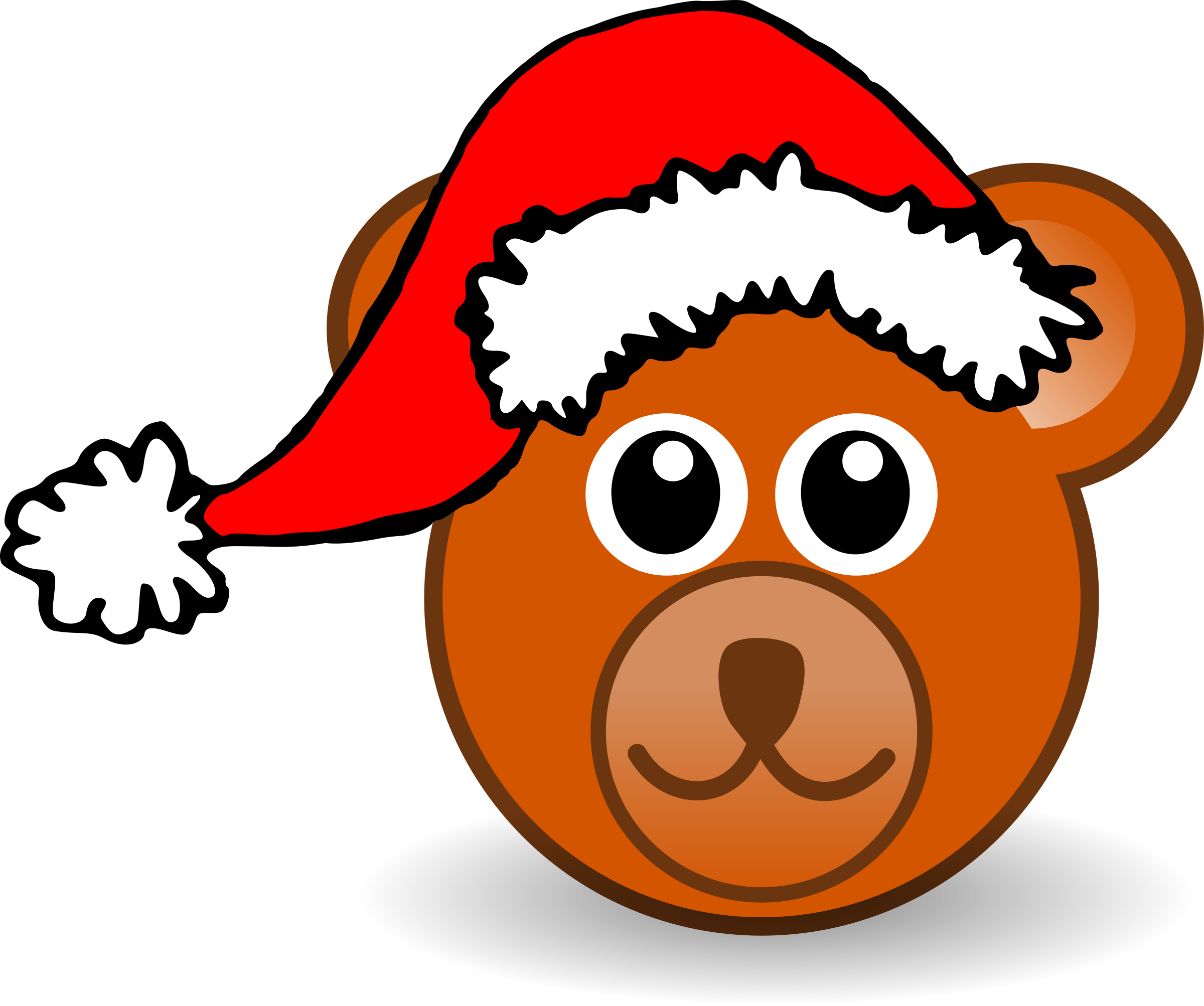 Funny teddy bear face brown with Santa Claus hat by palomaironique