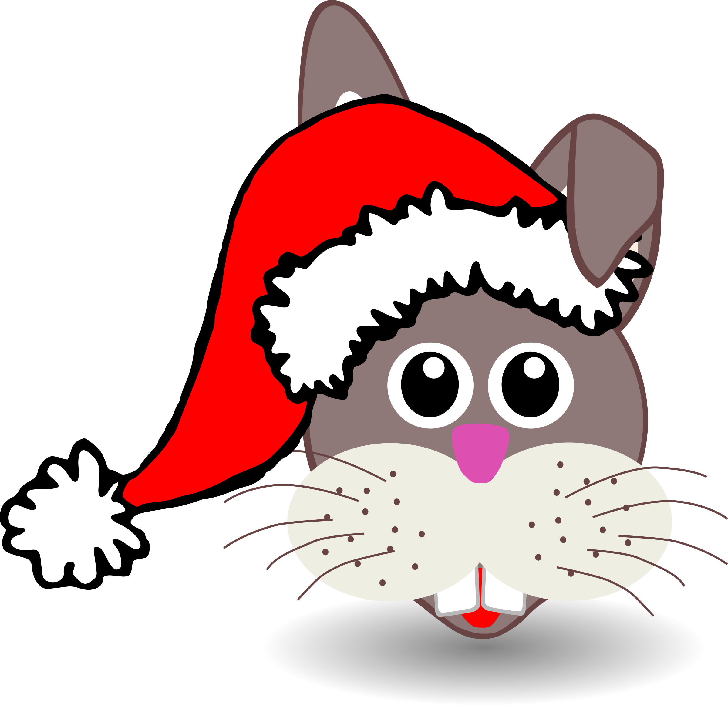 Funny bunny face with Santa Claus hat by palomaironique
