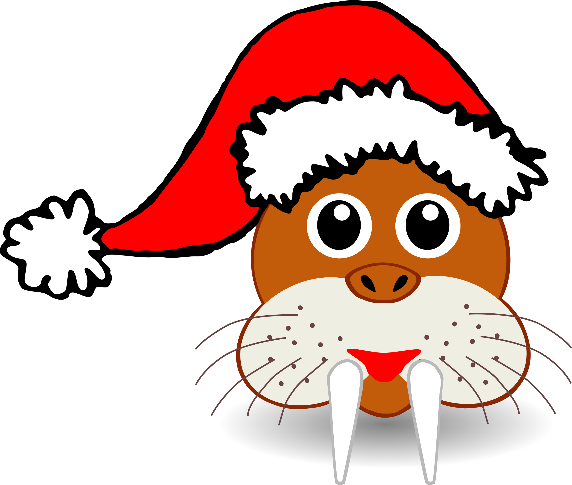 Funny walrus face with Santa Claus hat by palomaironique
