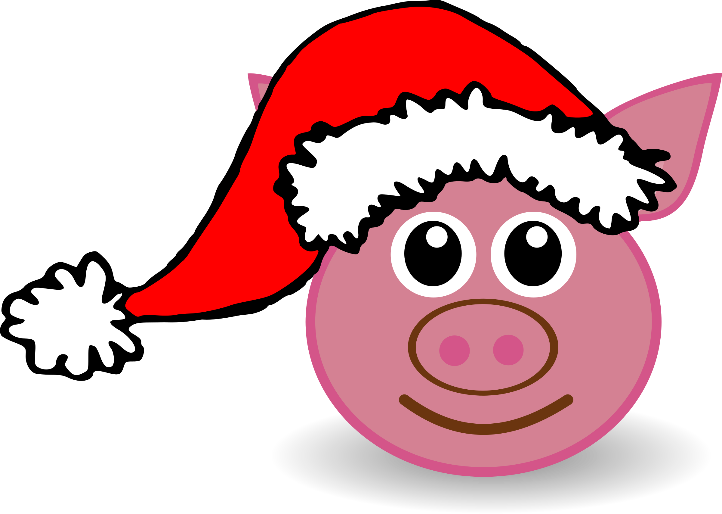 Funny piggy face with Santa Claus hat by palomaironique