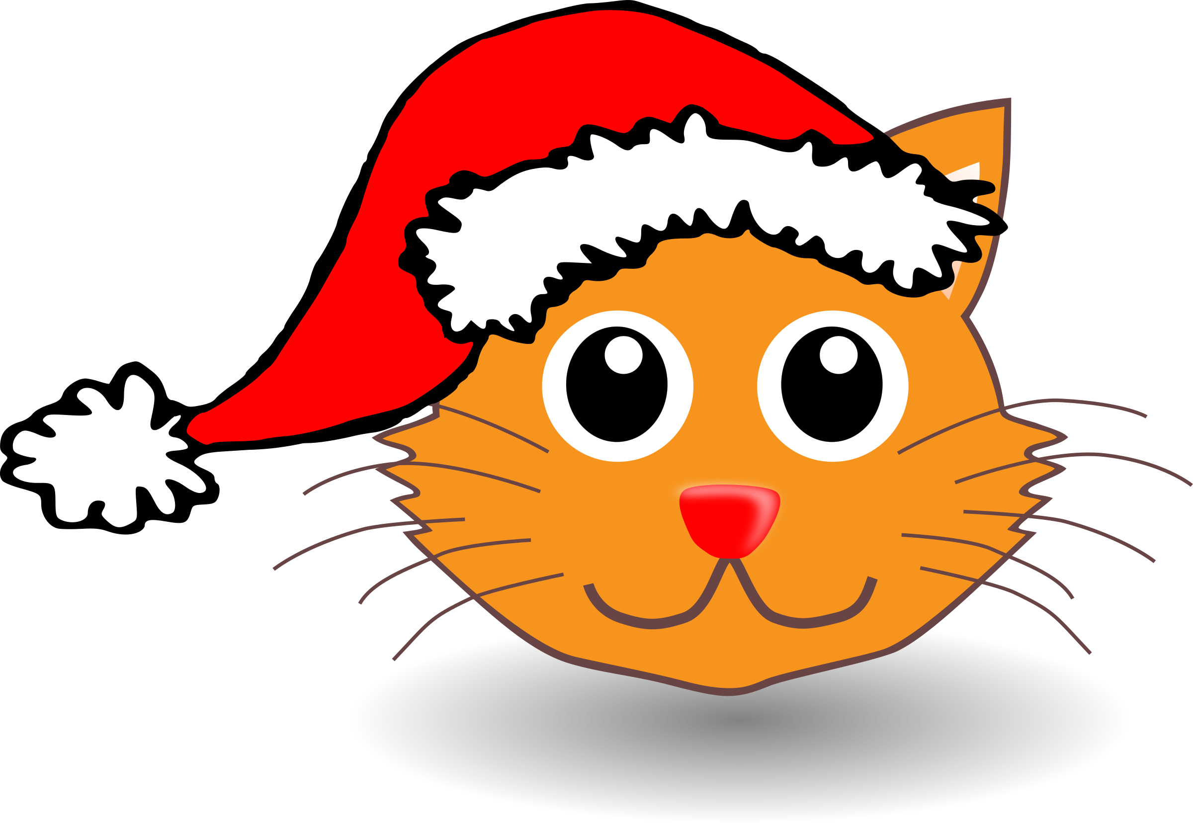 Funny kitty face with Santa Claus hat by palomaironique