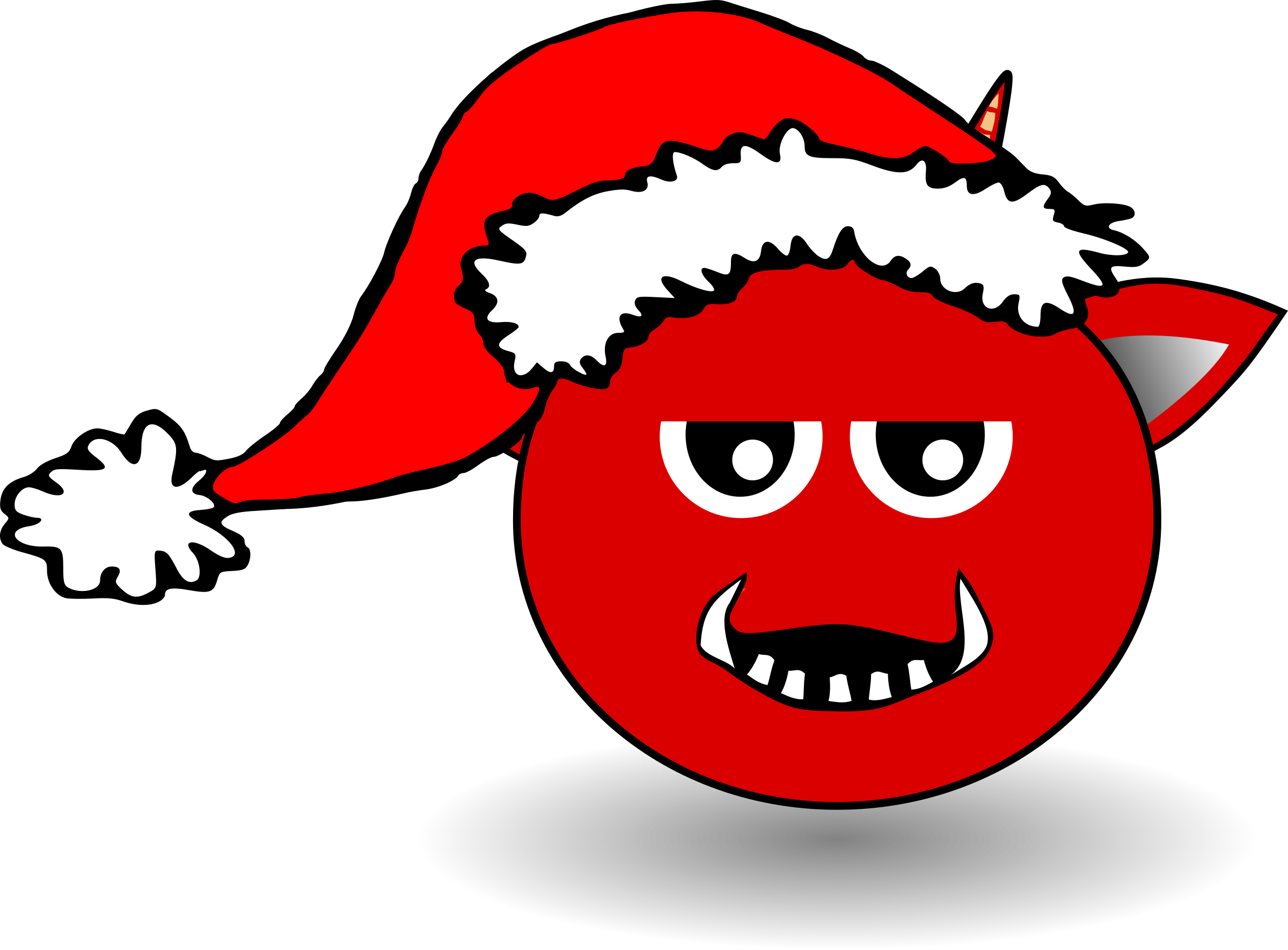 Little Red Devil Head Cartoon with Santa Claus hat by palomaironique