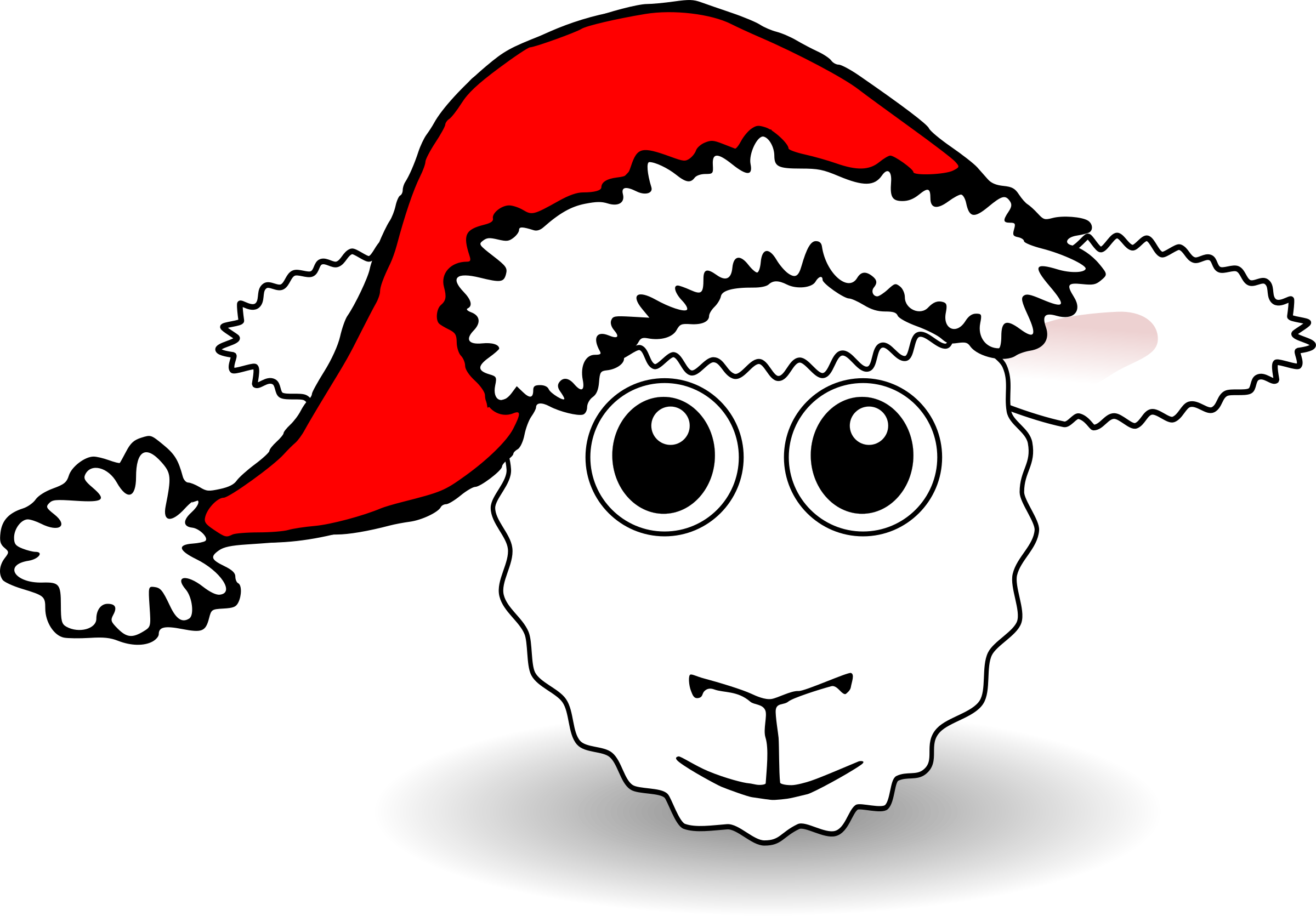 Funny Sheep Face White Cartoon with Santa Claus hat by palomaironique