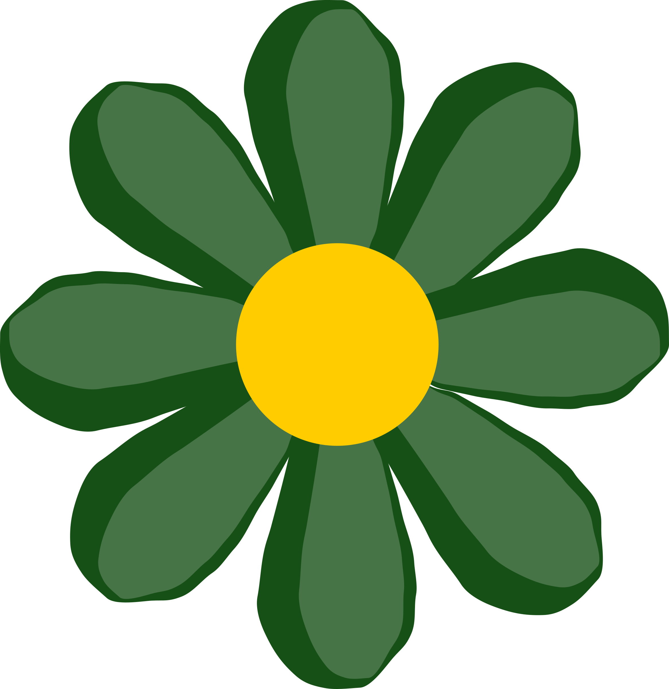 Clipart green flower