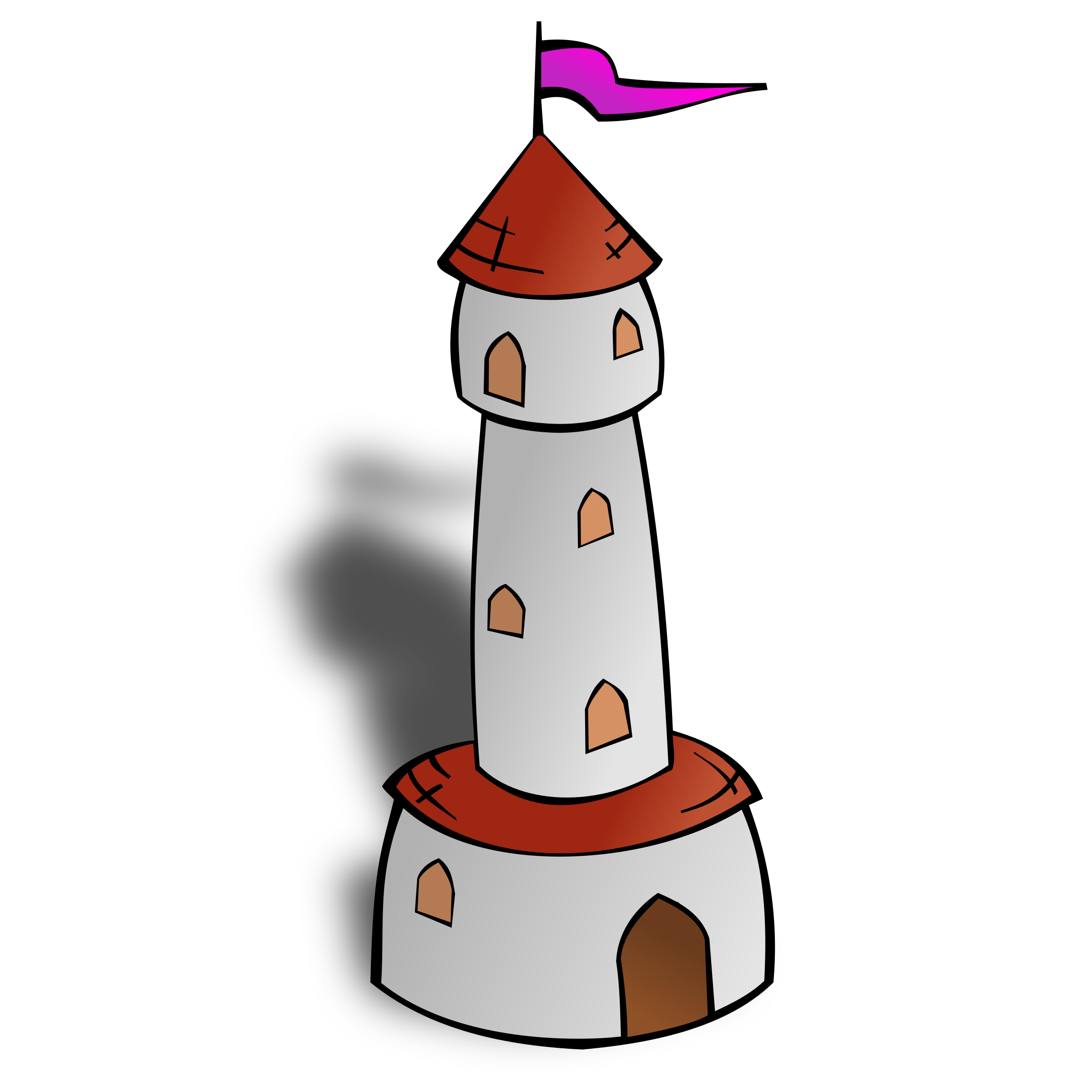 RPG map symbols: Round Tower with Flag by nicubunu