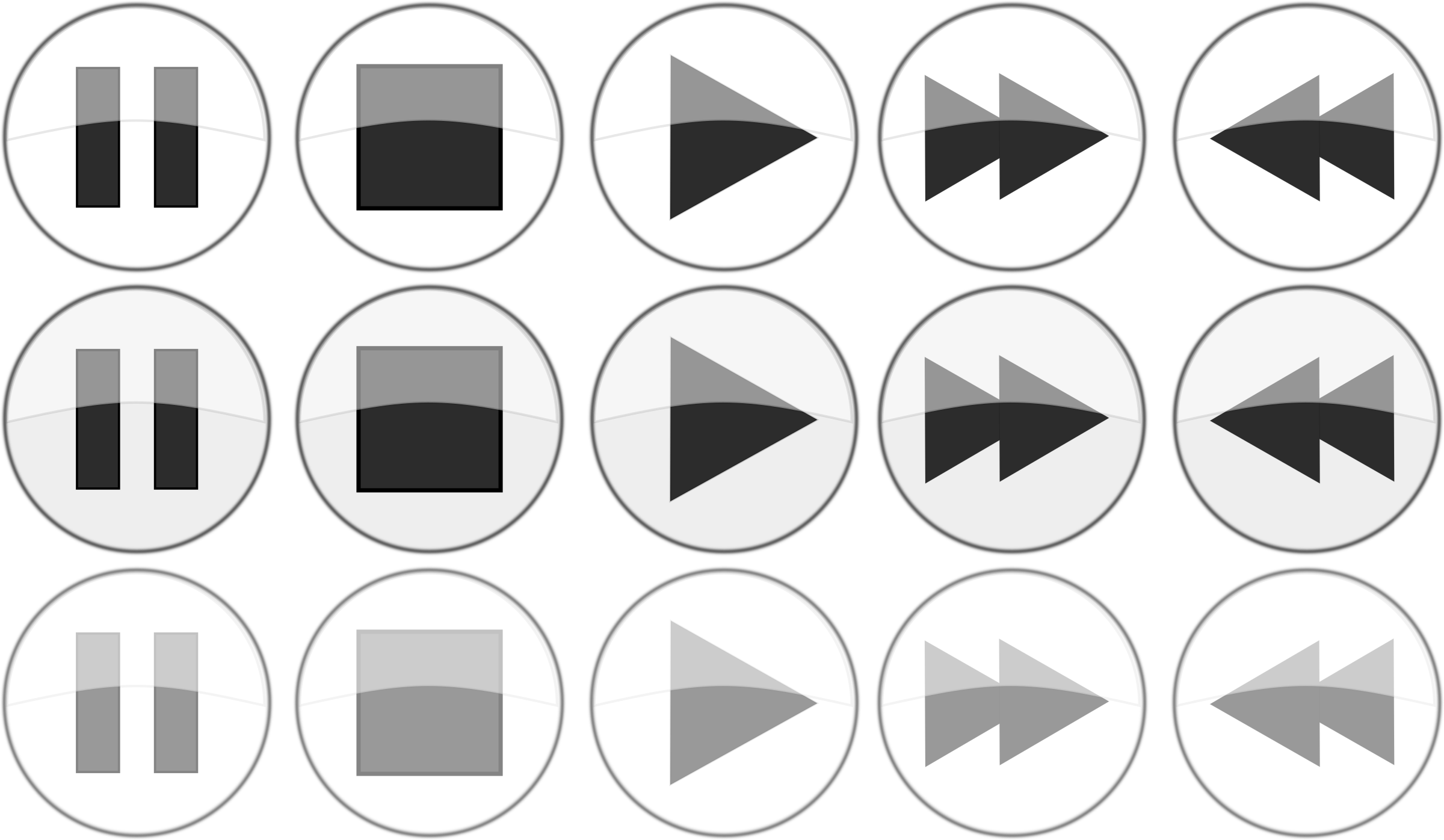 Glossy media player {normal active, focus} buttons by tct