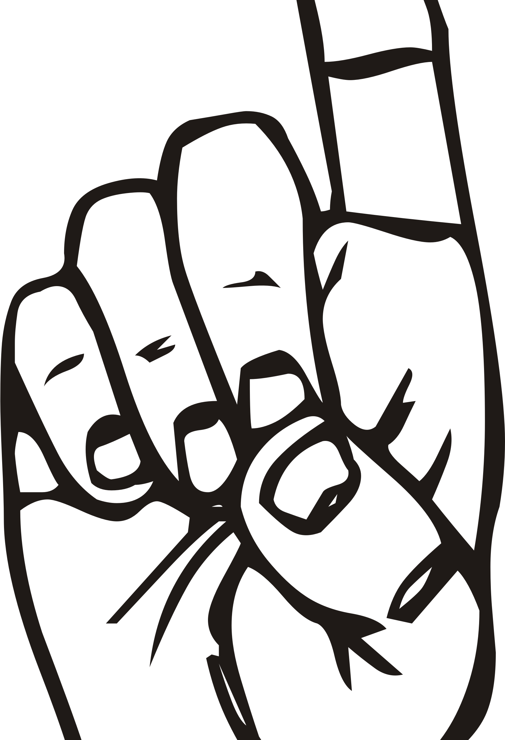 Clipart - Sign language D, finger pointing