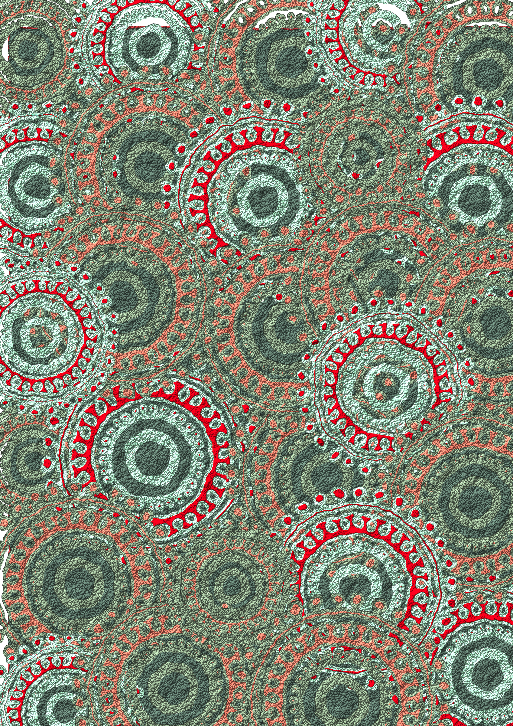 Seafoam Salmon Circle Pattern Scrapbook Paper by Lovinglf