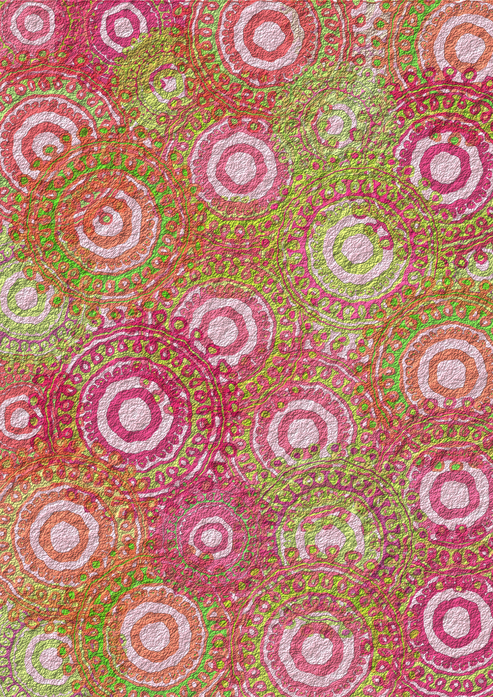 Pink Lime Circle Pattern Scrapbook Paper by Lovinglf