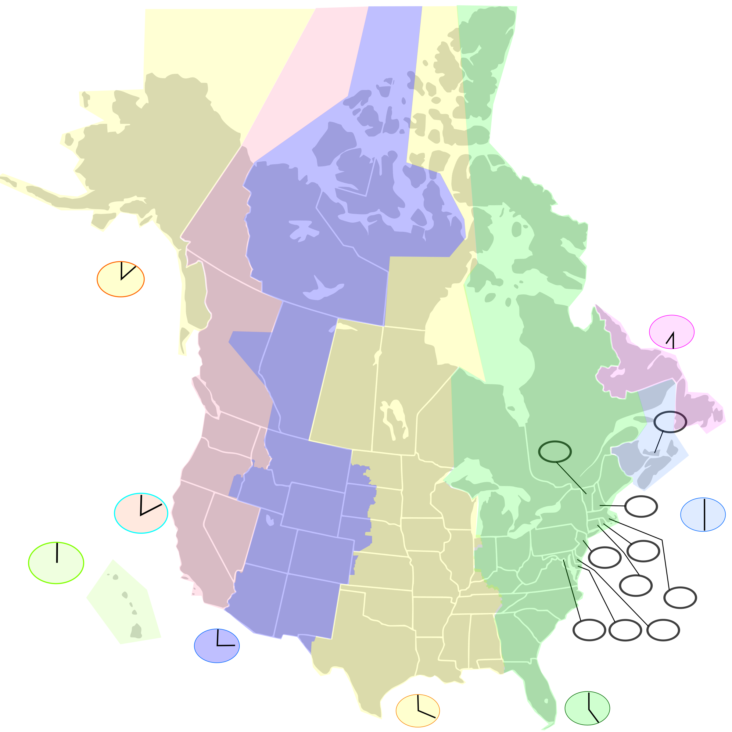 Usa Canada Map With States And Cities Usa Canada Map With States - Map of the us zones