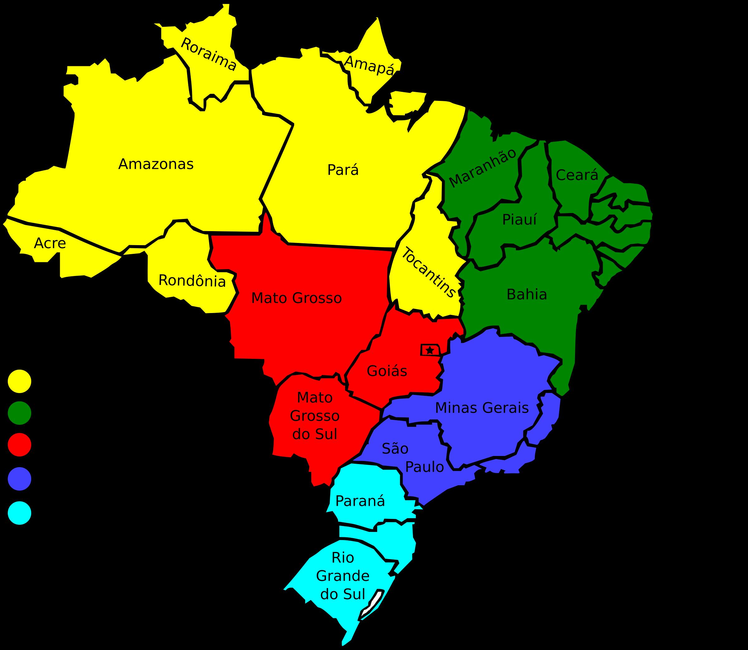 Clipart Map Of Brazil V - Map of brazil