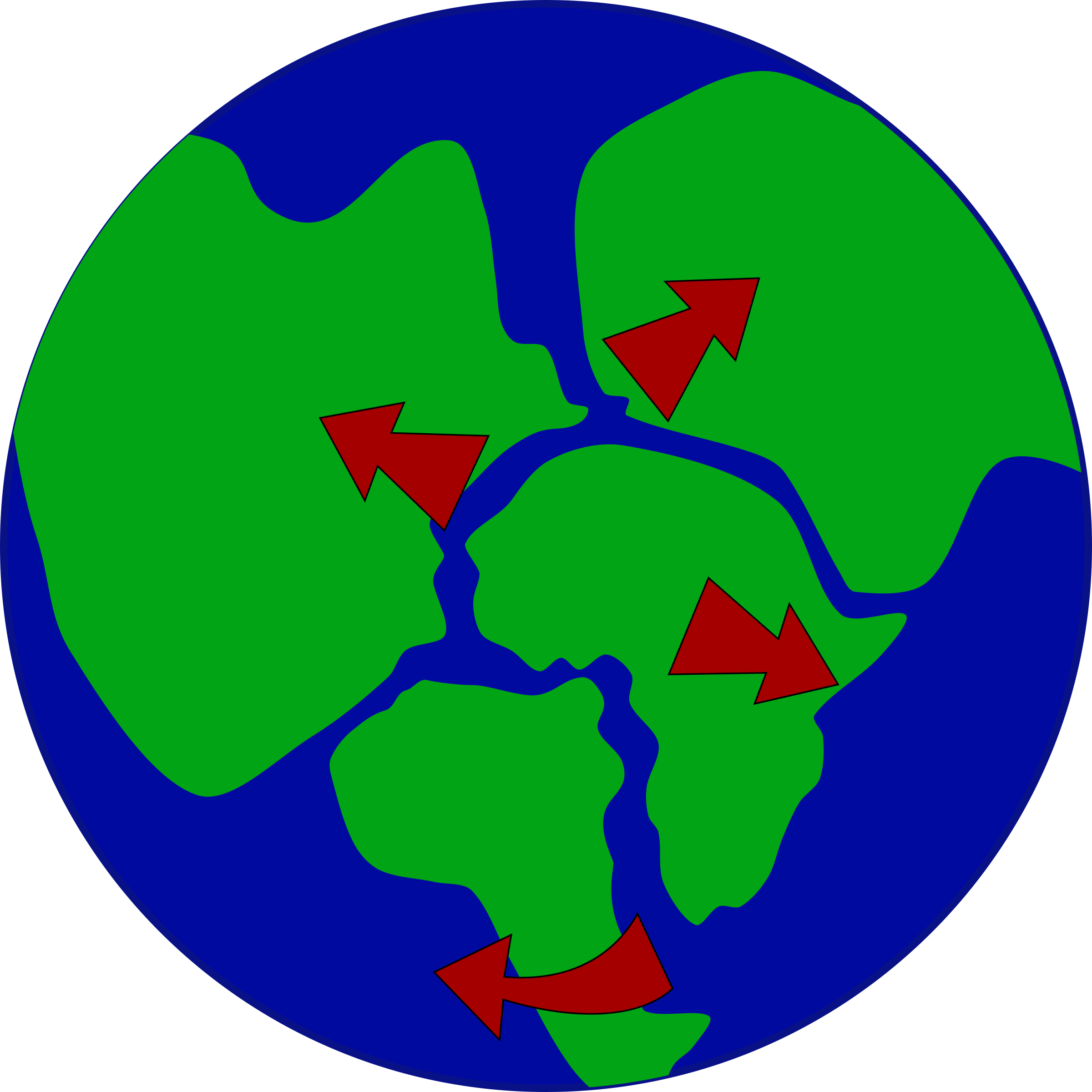 Earth with continents breaking up by jonadab