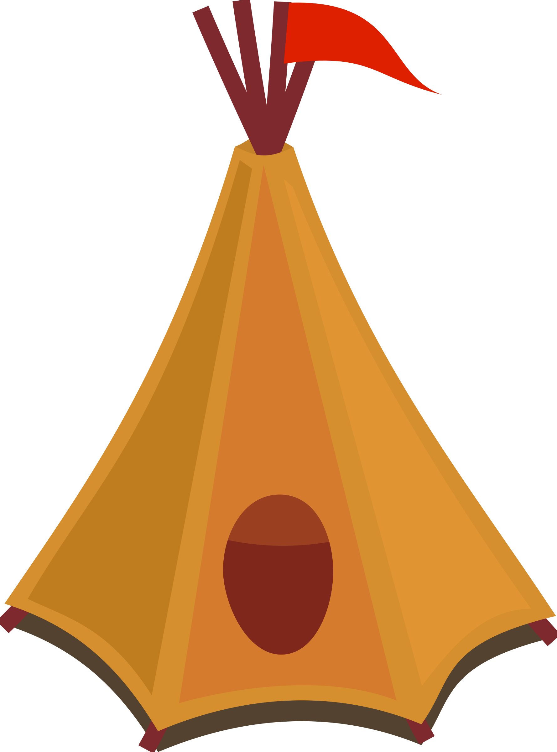 Cartoon tipi / tent with red flag by qubodup