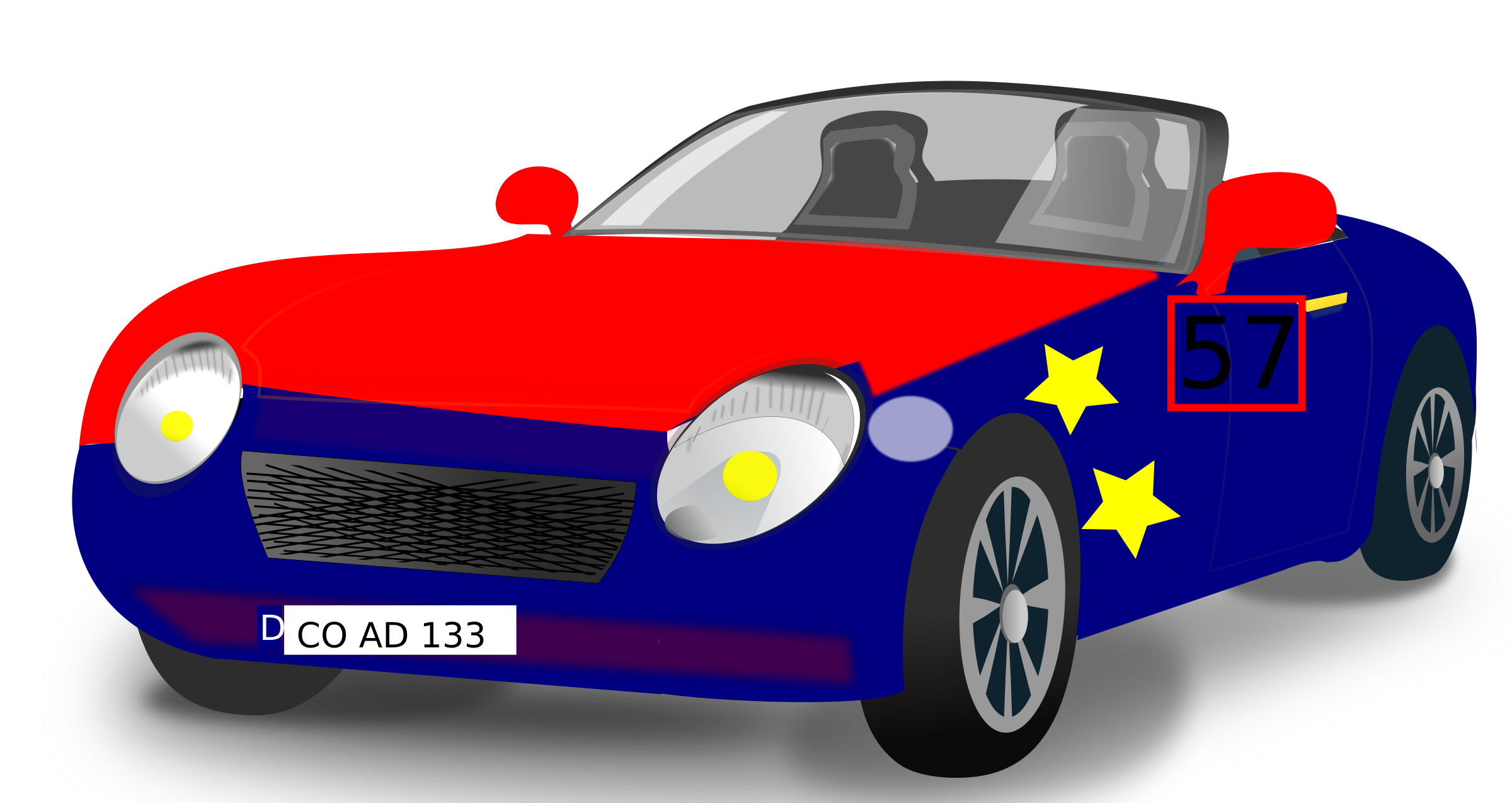Red Blue Convertible Sports Car by marcocretella
