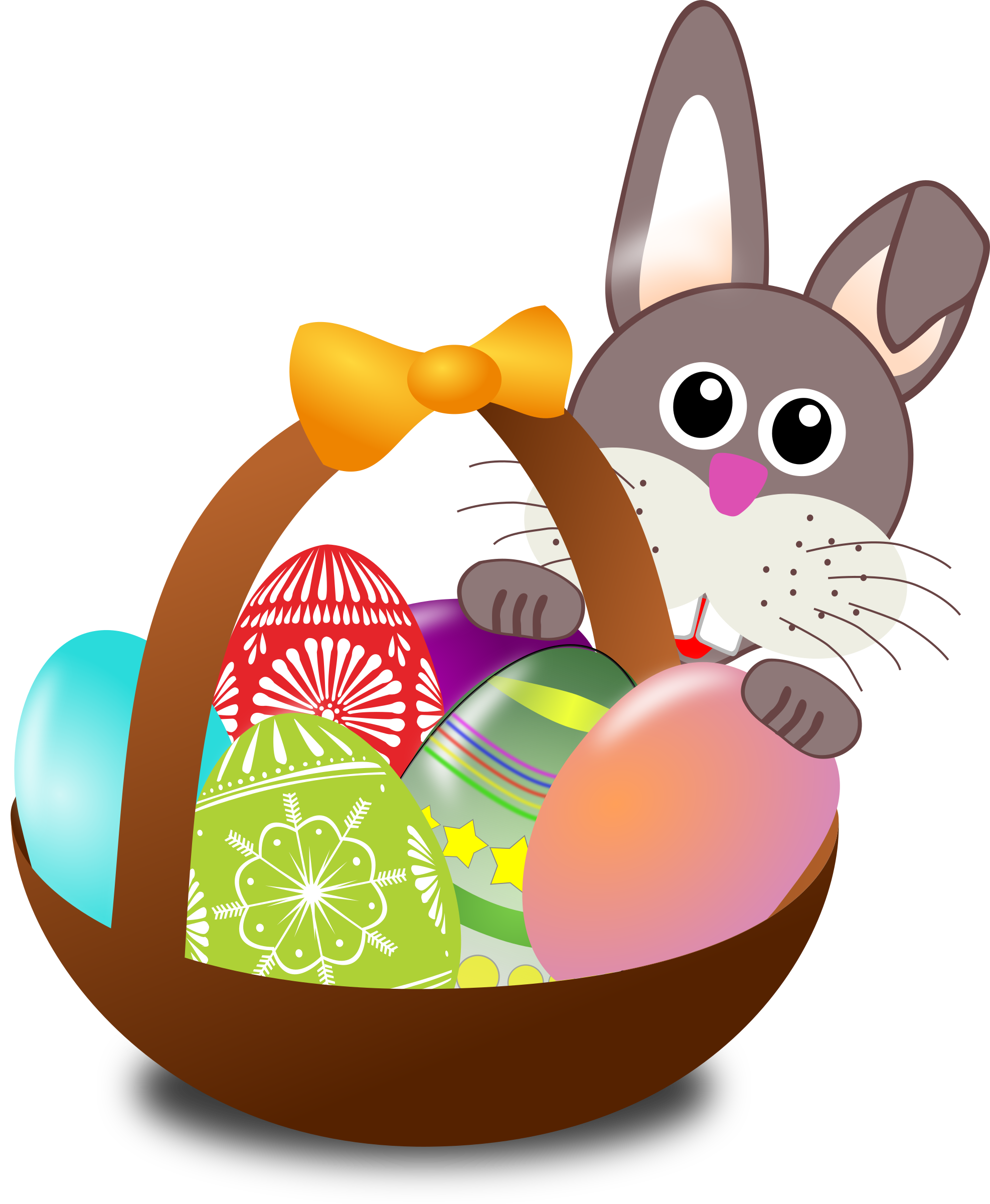 clipart funny bunny face with easter eggs in a basket