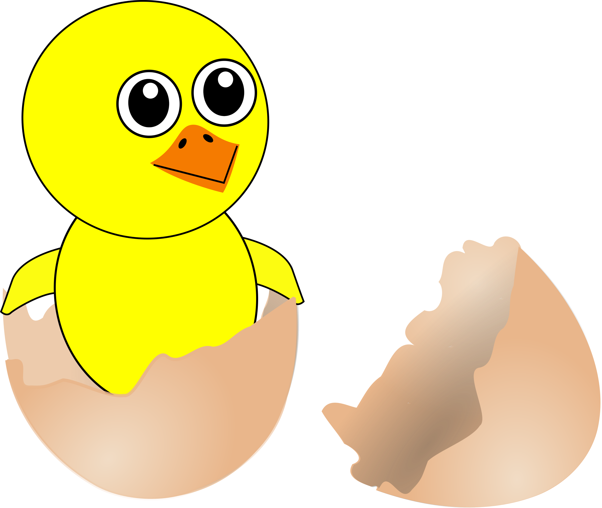 Funny Chick Cartoon Newborn Coming Out from the Egg by palomaironique