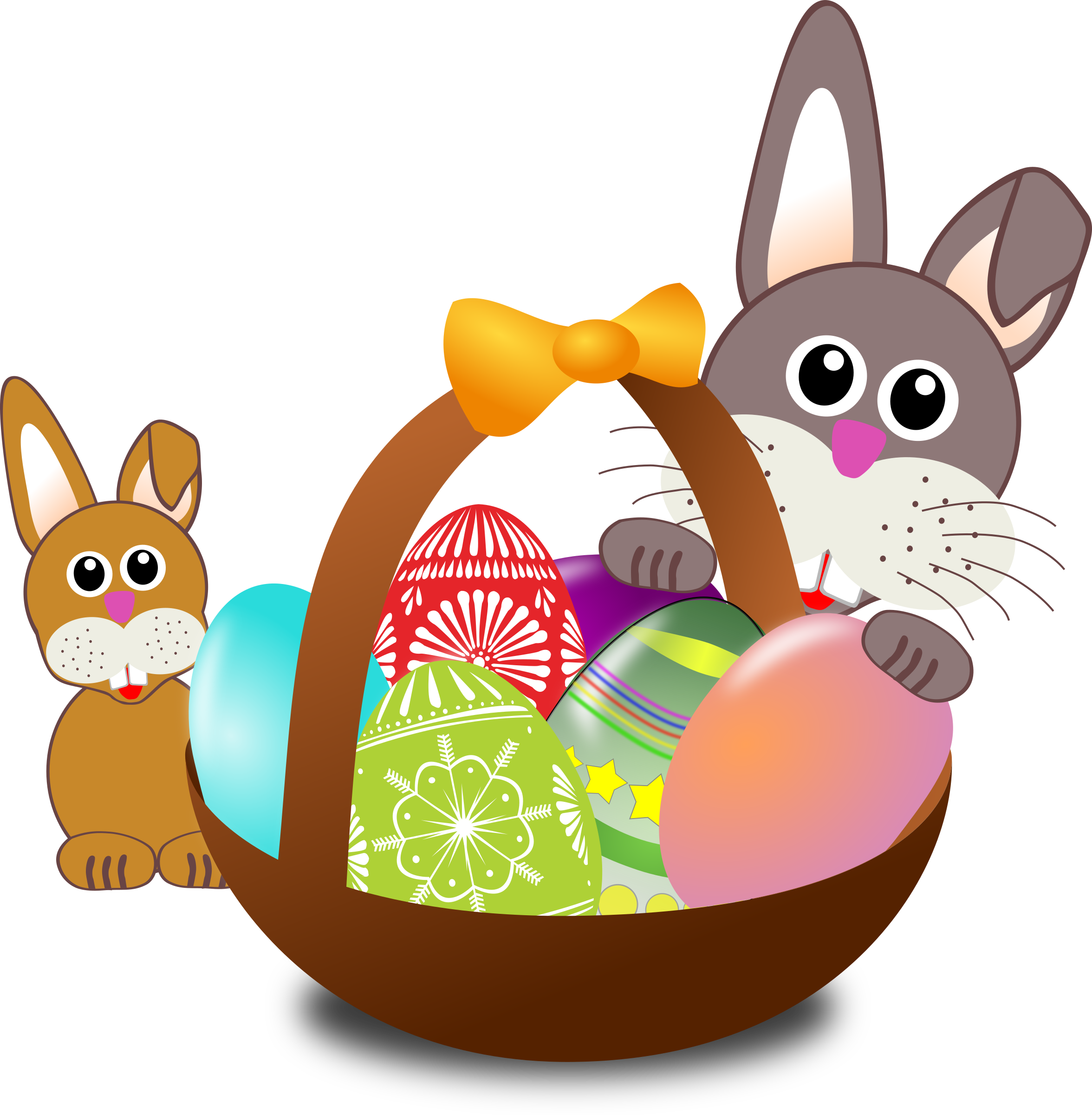 Funny bunny face with Easter eggs in a basket with baby rabbit by palomaironique