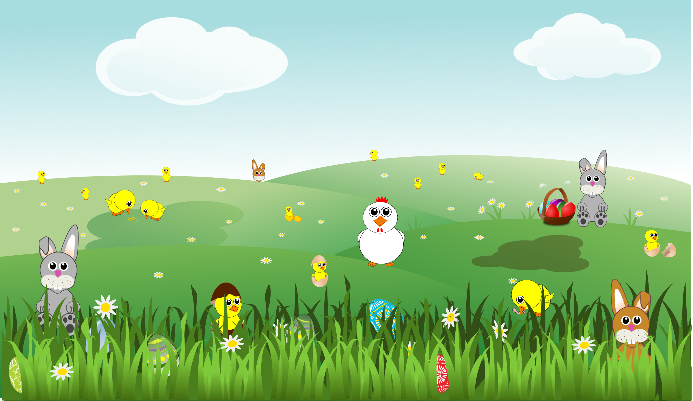 Easter Landscape with bunnies, chicks, eggs, chicken, flowers by palomaironique