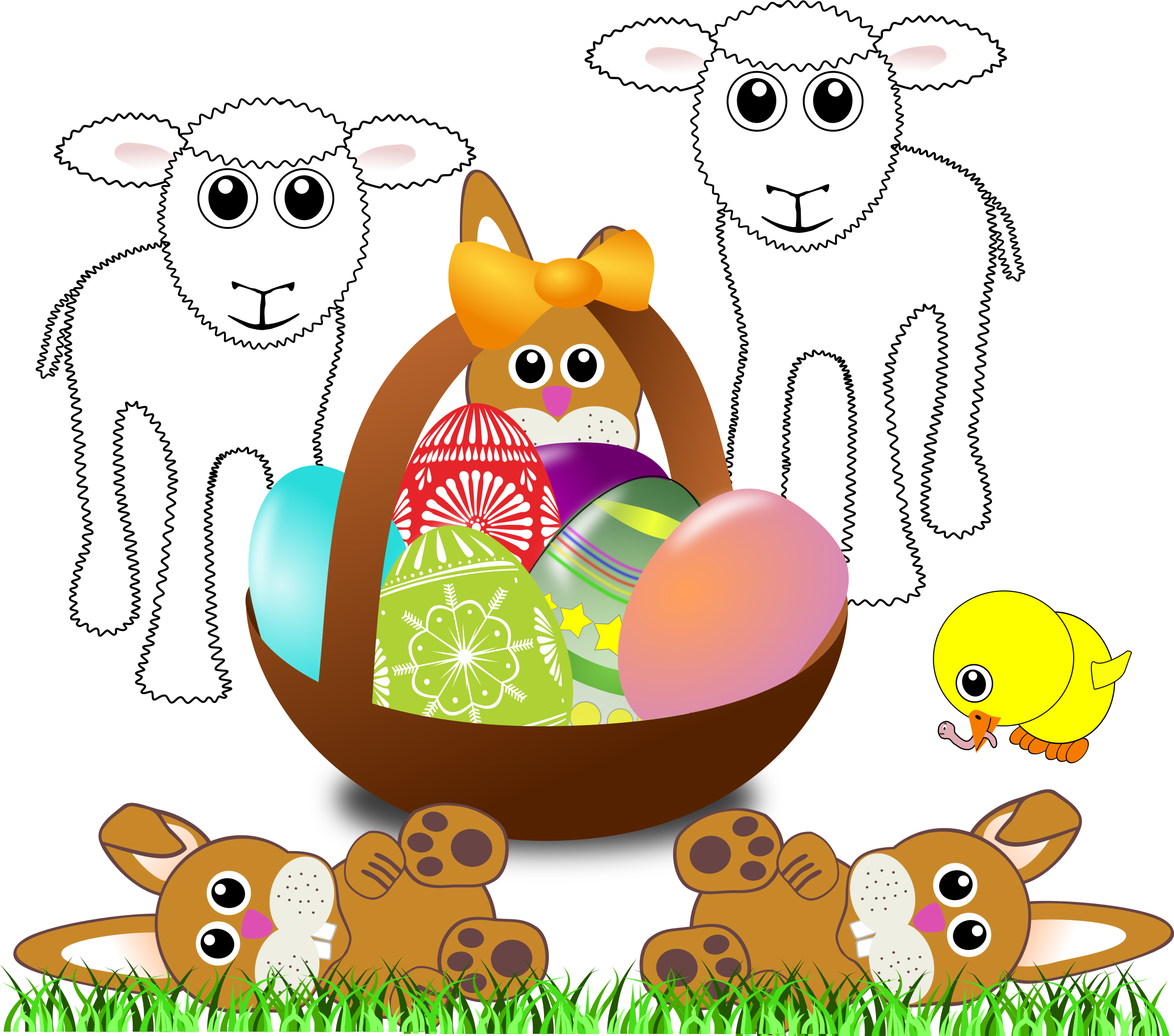 Funny lambs, bunnies and chick with Easter eggs in a basket by palomaironique