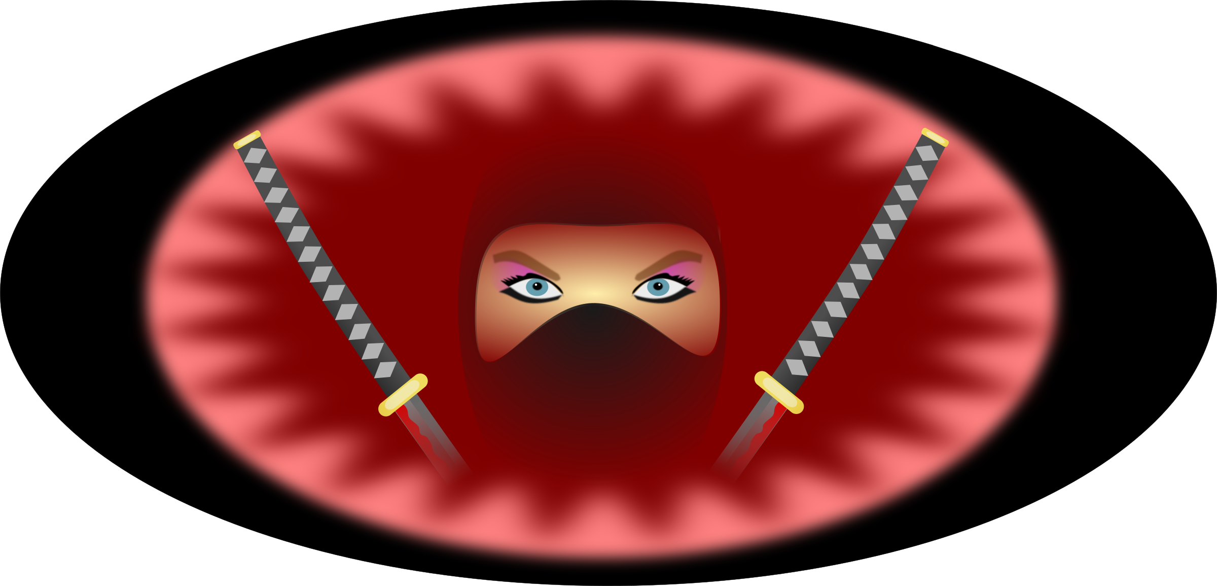 ninja woman in red by pauthonic