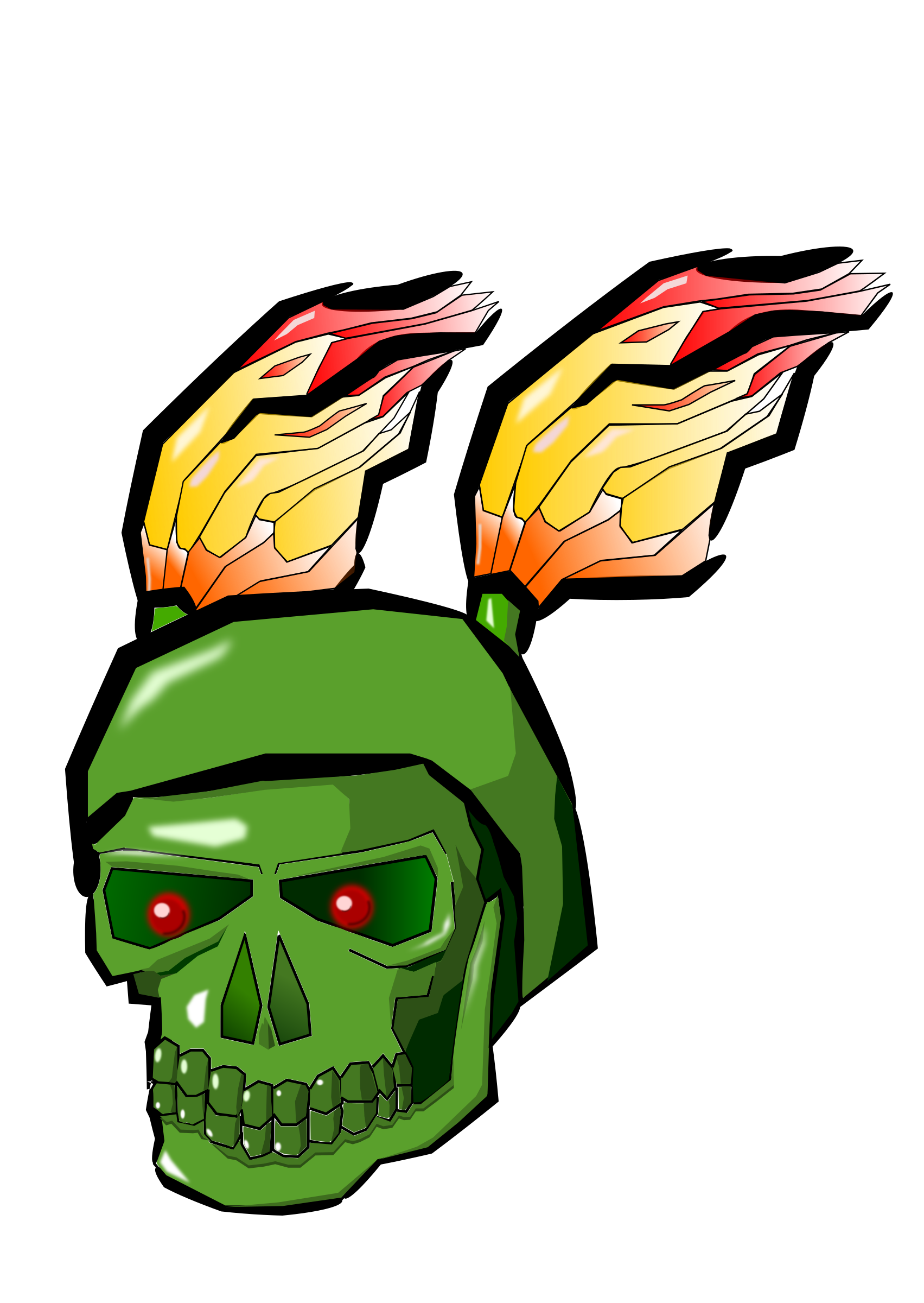 Green Skull with Flames by Rents