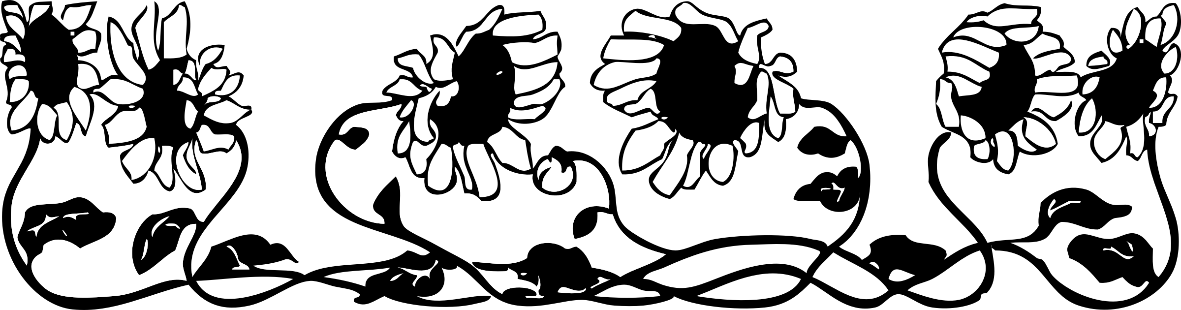 Clipart - sunflower border for Clipart Sunflower Black And White  146hul