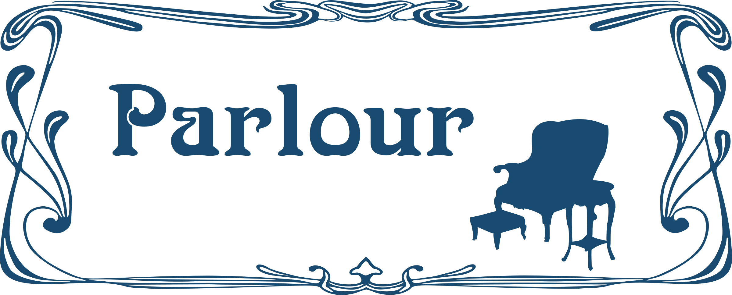 Parlour door sign by Moini