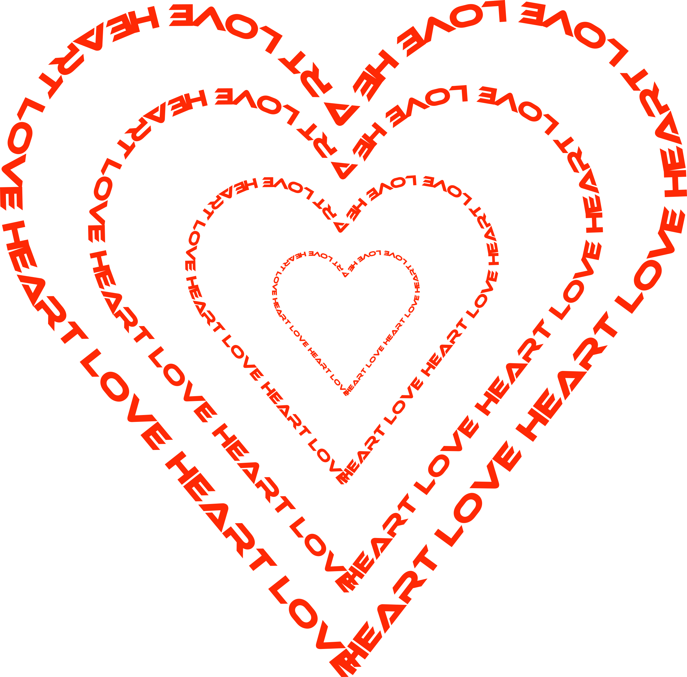 Clipart - A Heart done by words outline