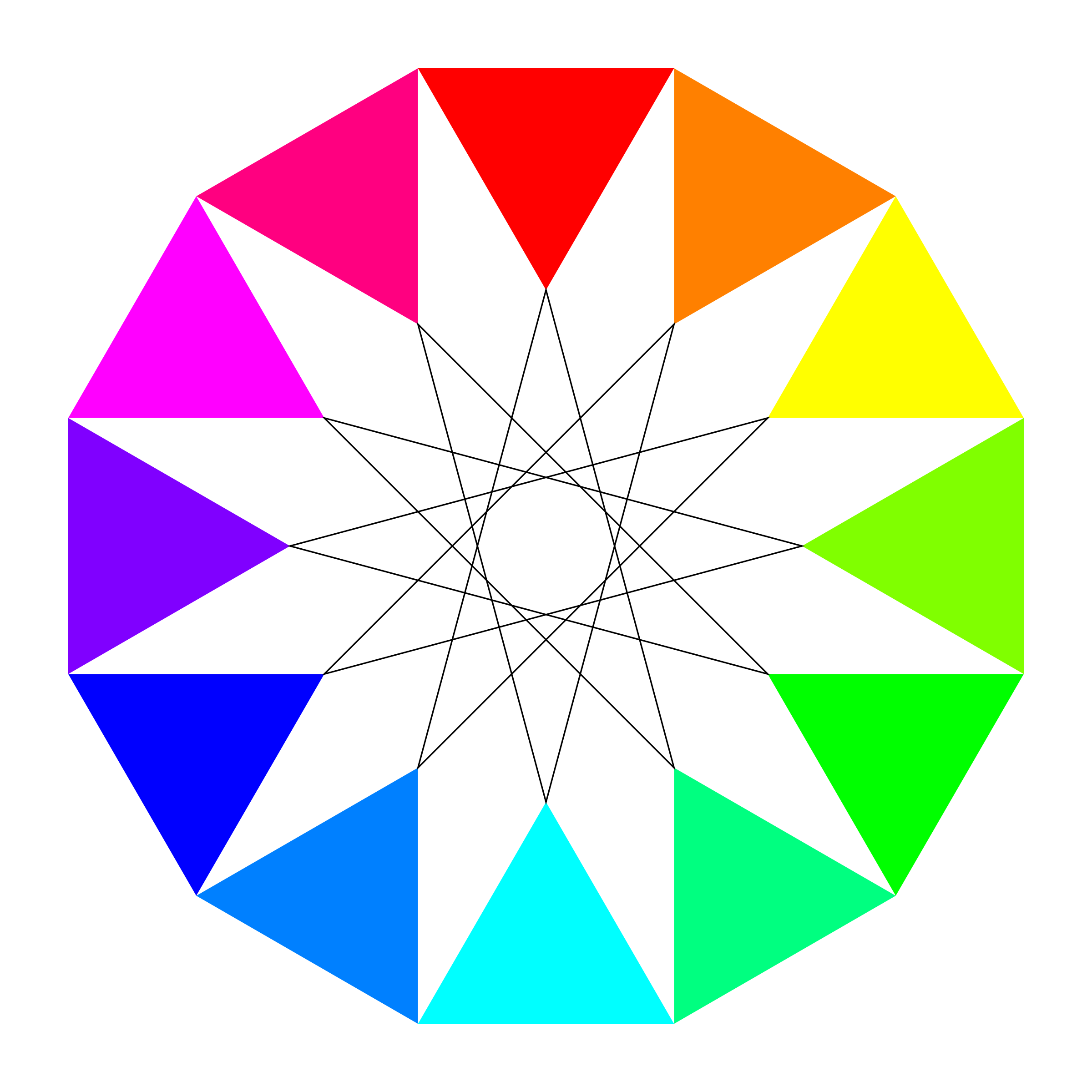 rainbow dodecagon and black dodecagram by 10binary