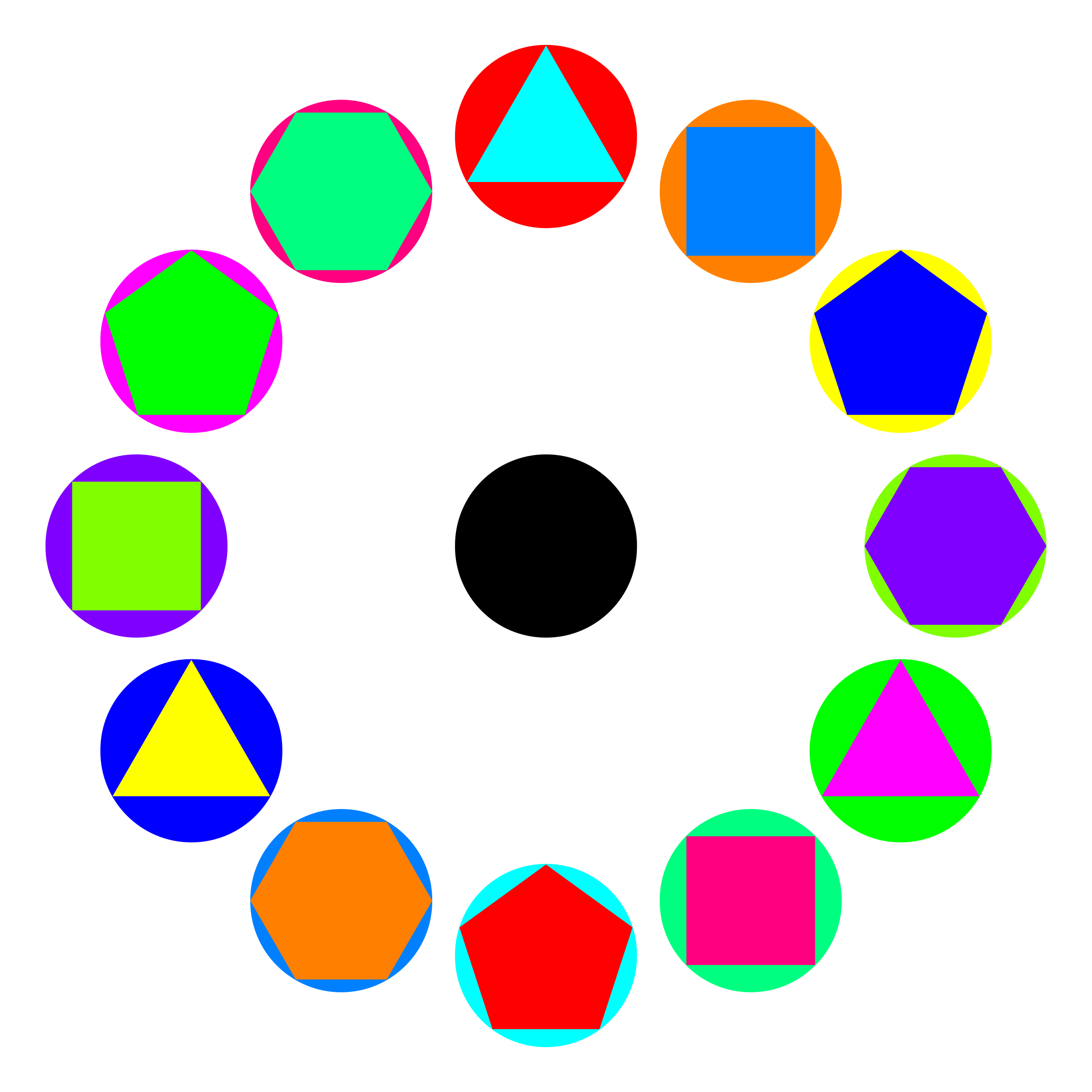 4 polygons in circles rainbow by 10binary