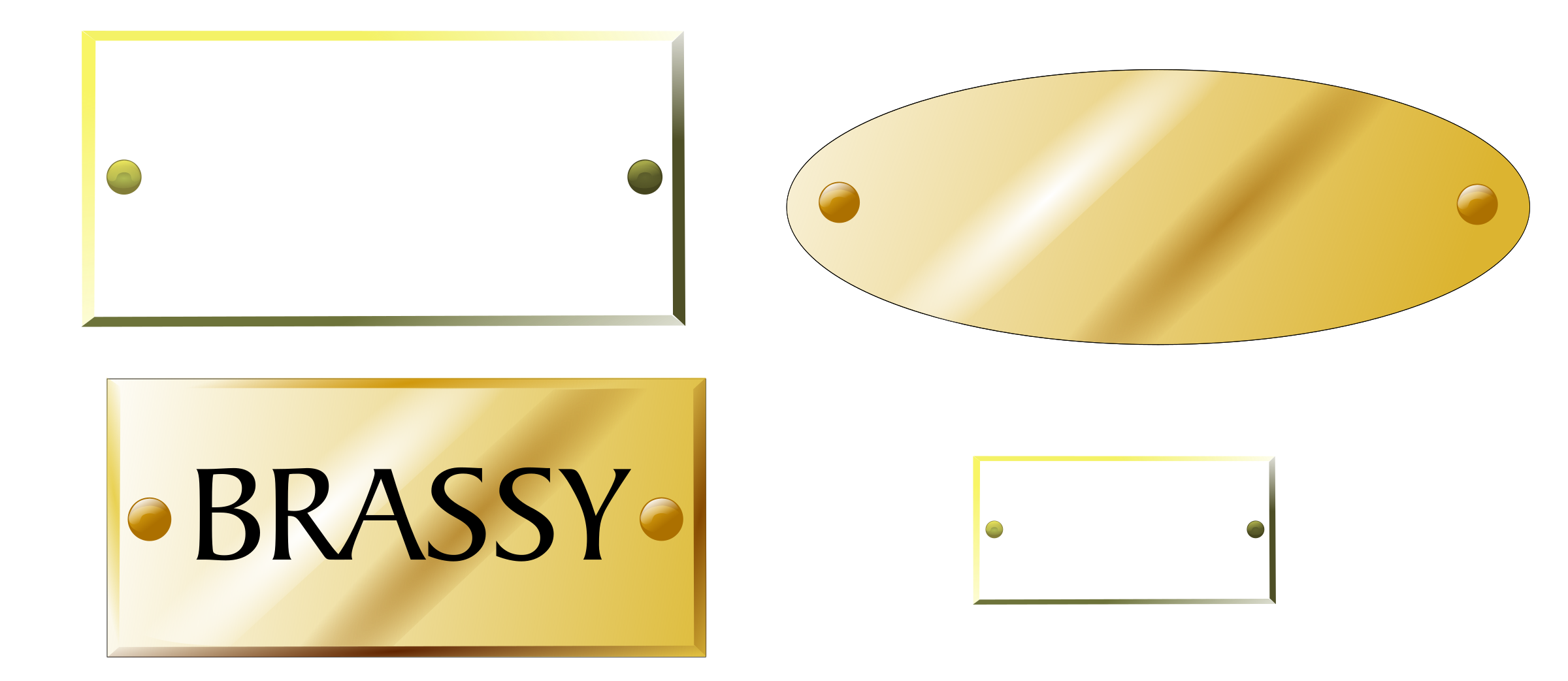 Brass plaques, tags by Raker Tooth