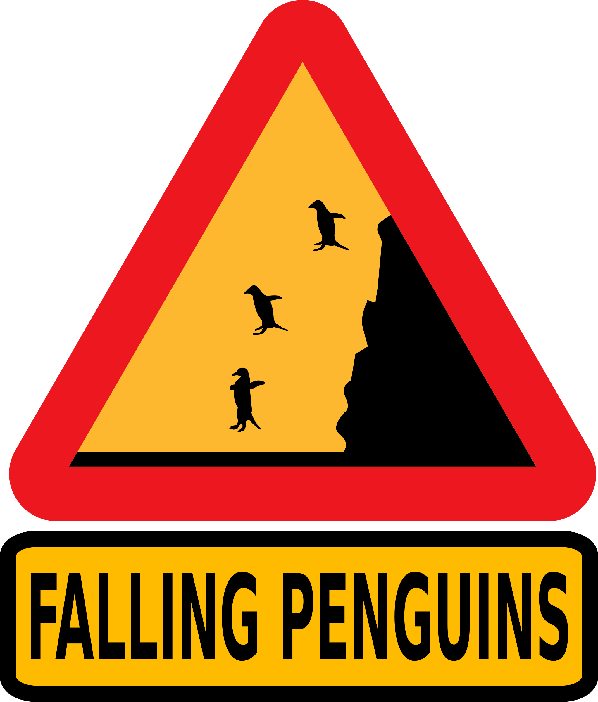 Warning falling penguins by dominiquechappard