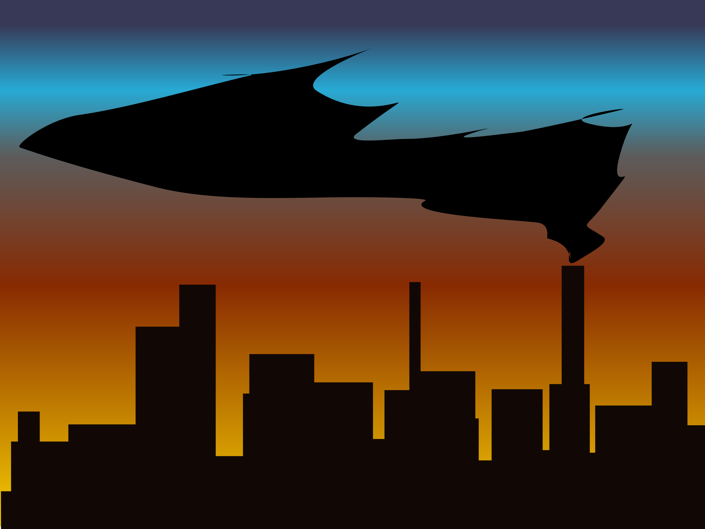 skyline with black smoke by witchlines