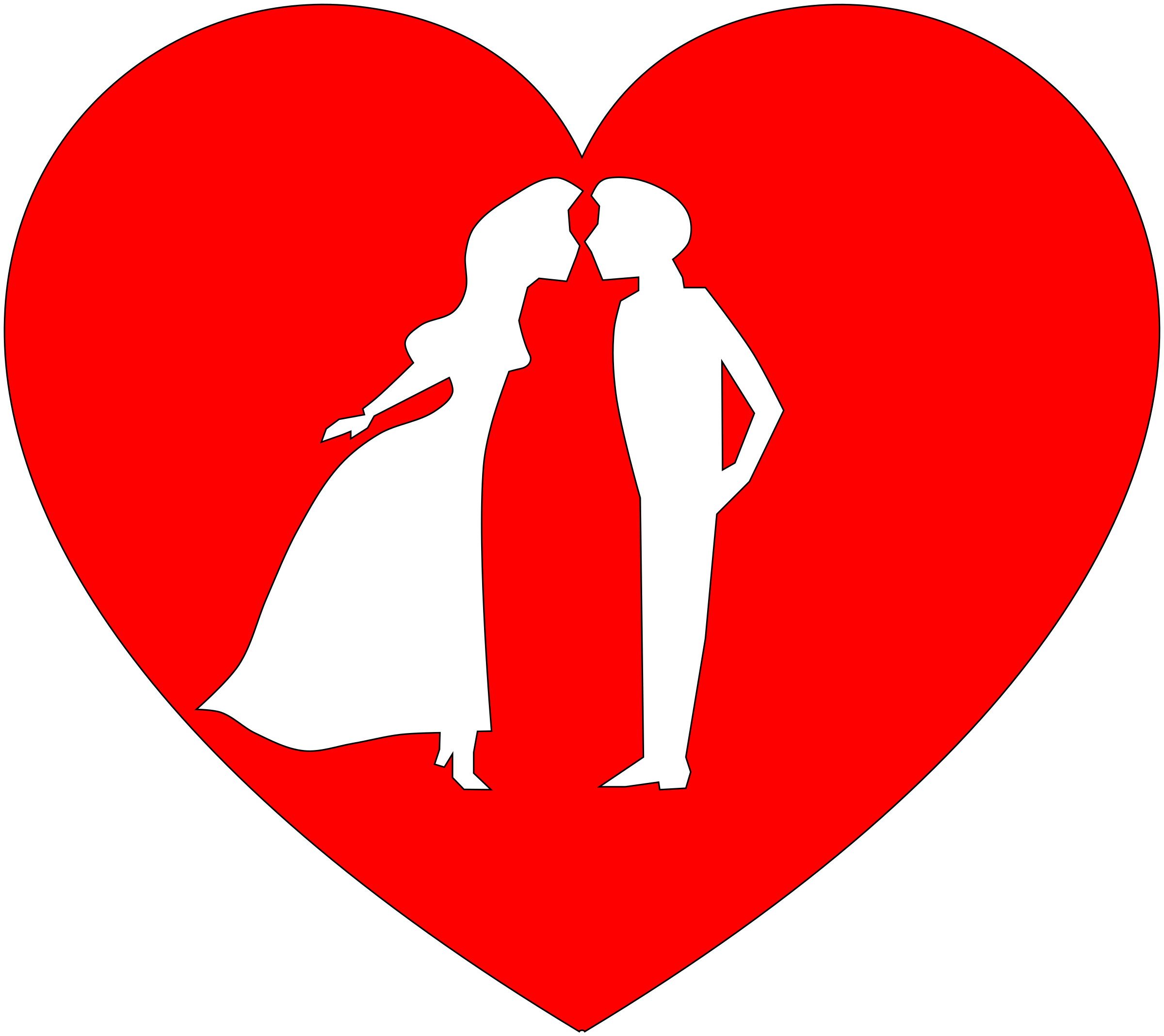 clipart couple in heart