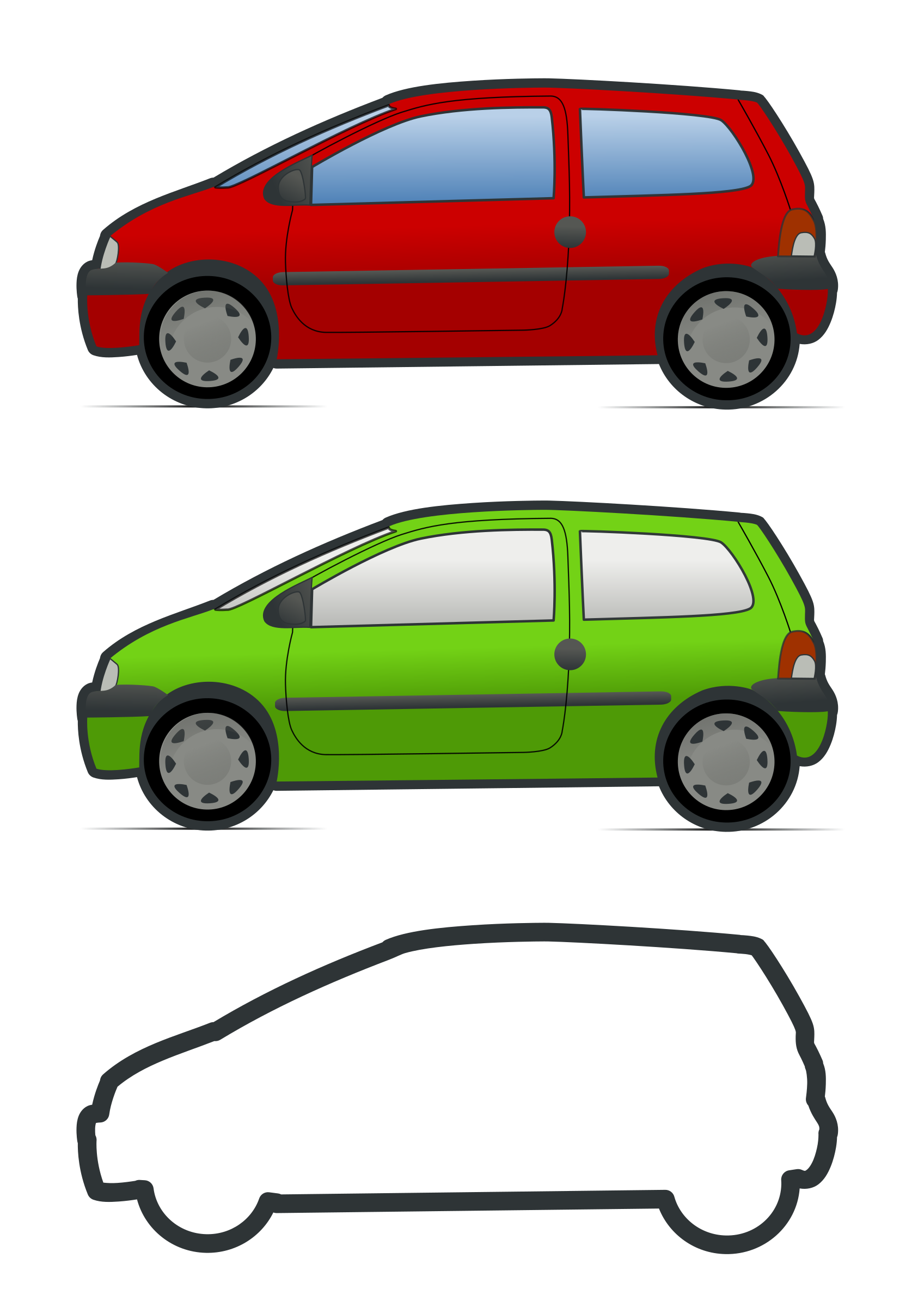 red and green renault twingo by molumen