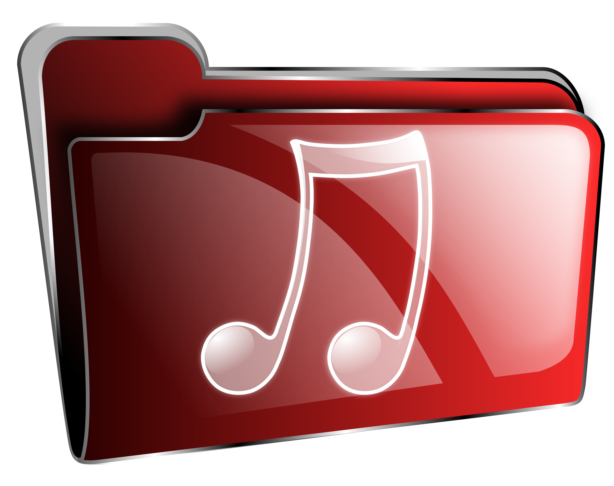 Folder icon red music by roshellin