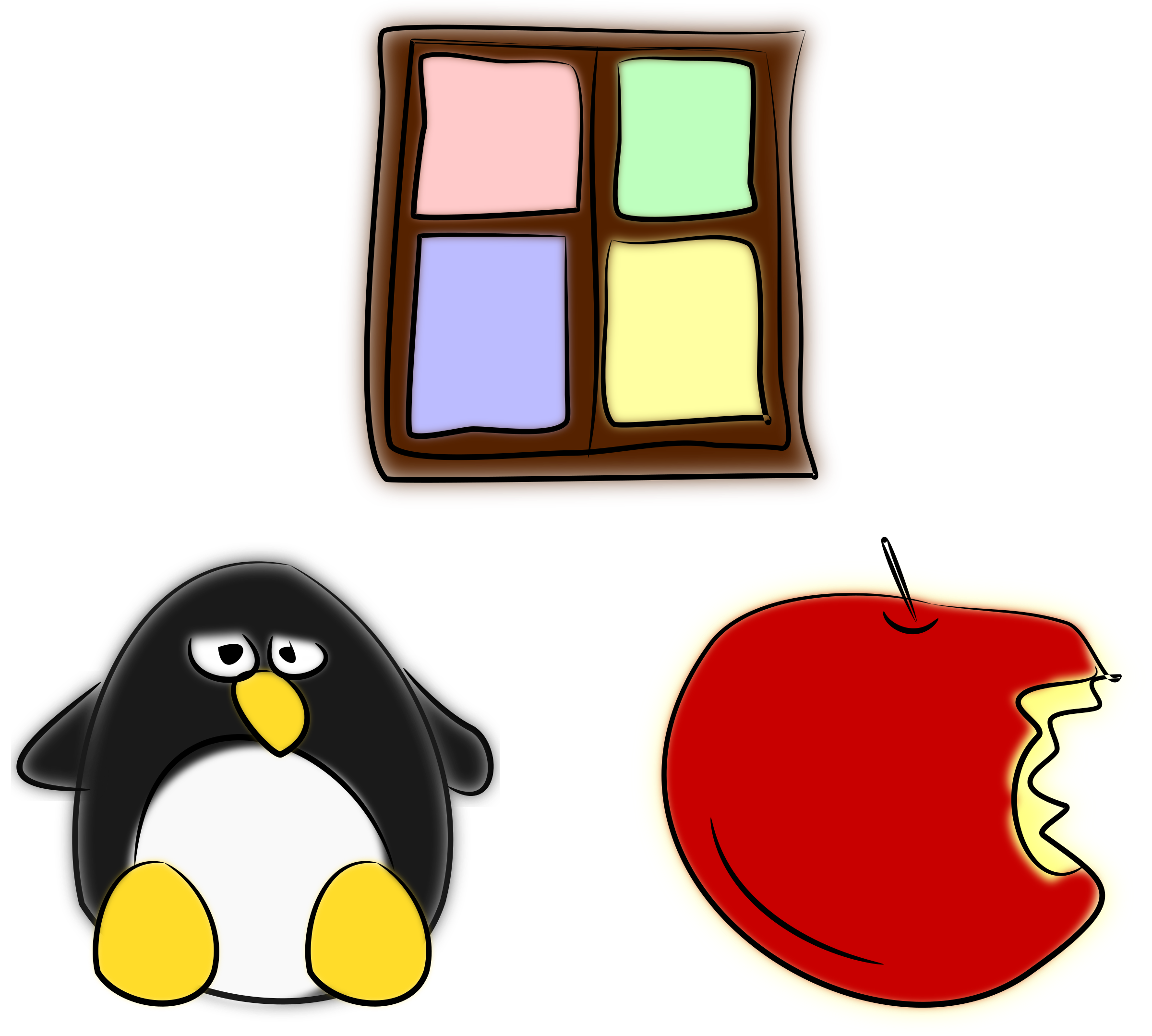 Window, penguin and apple by mi_brami