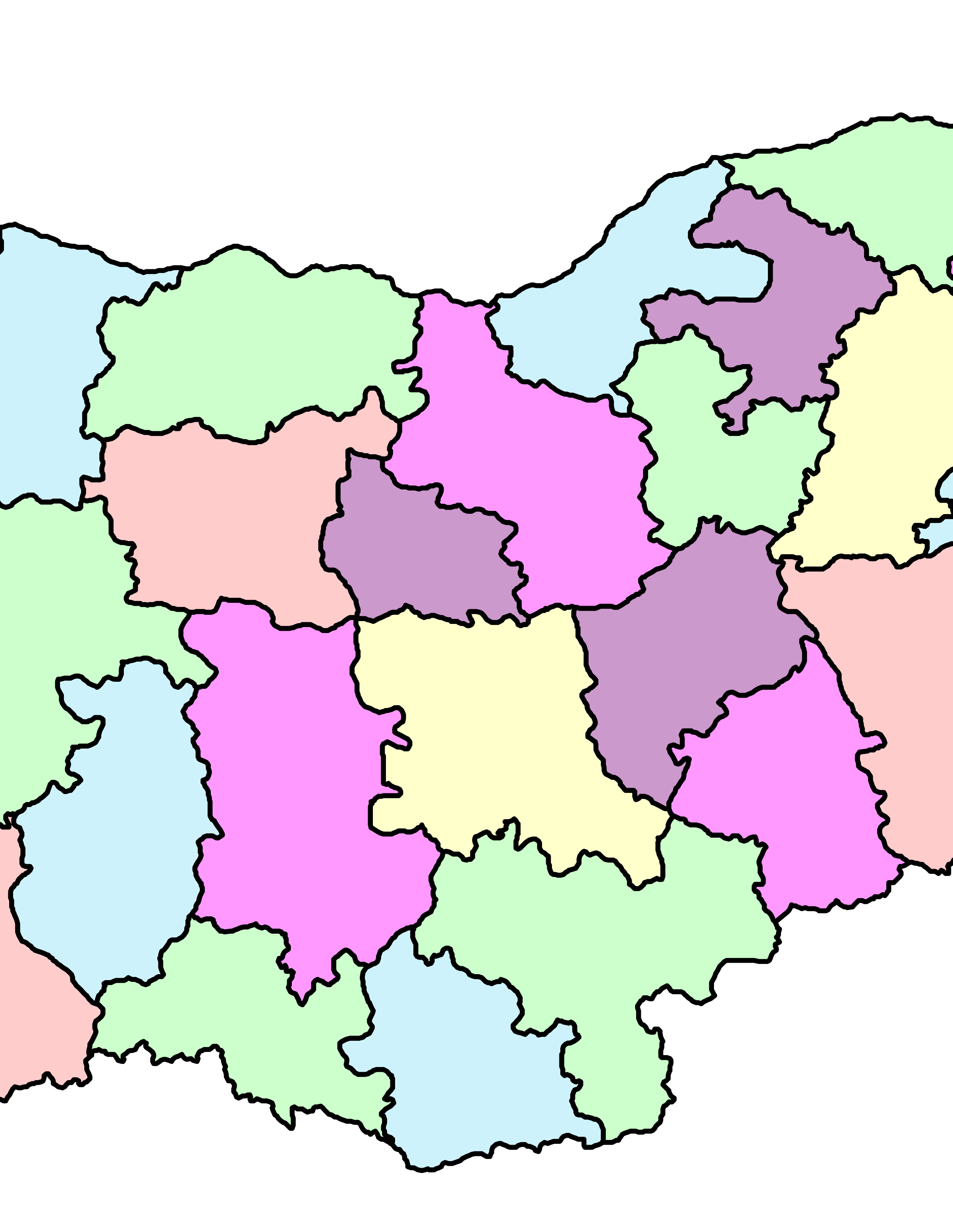 administrative map of Bulgaria by ivak