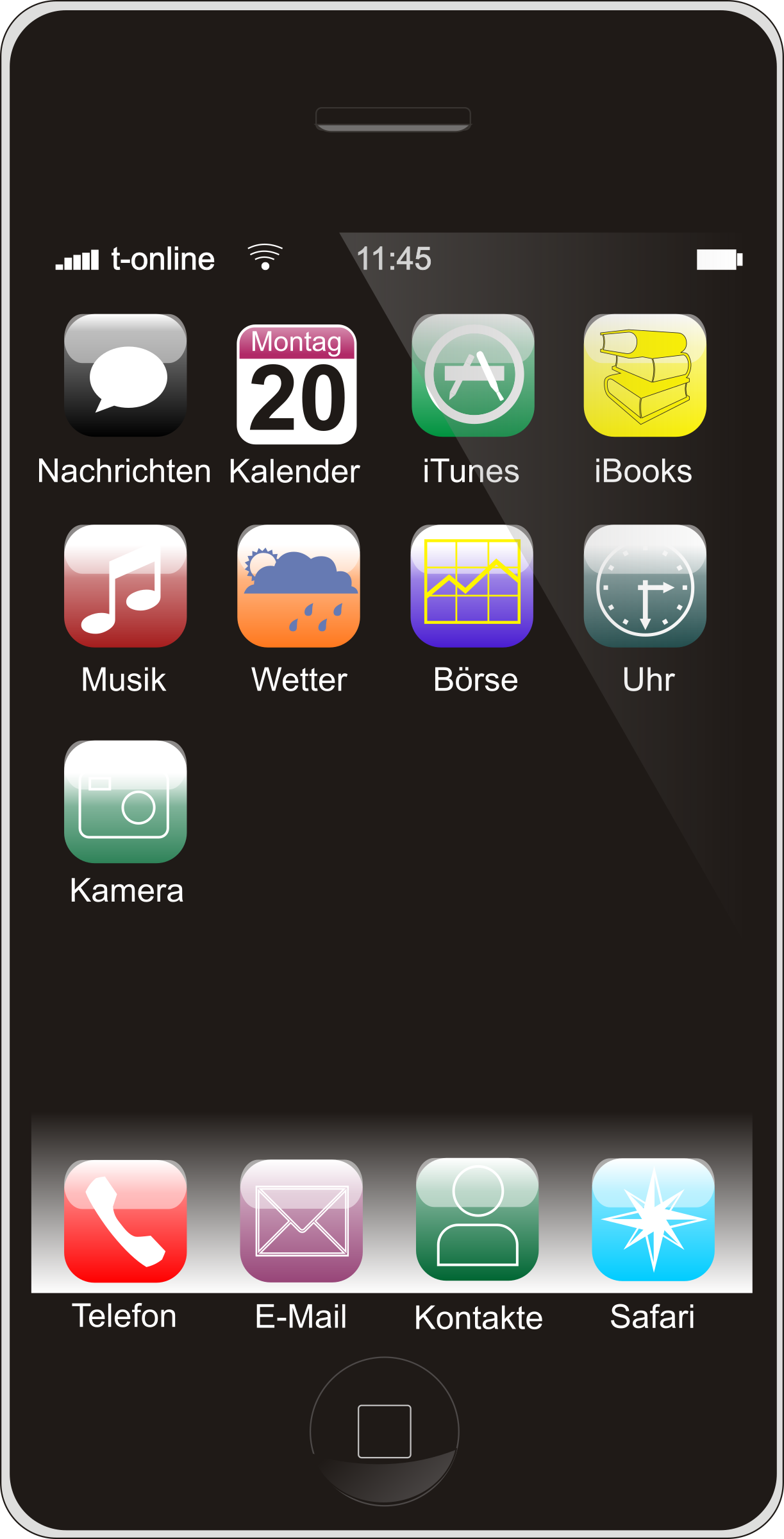 1223 x 2400 png 257kB, Clipart - Smartphone (German Version)