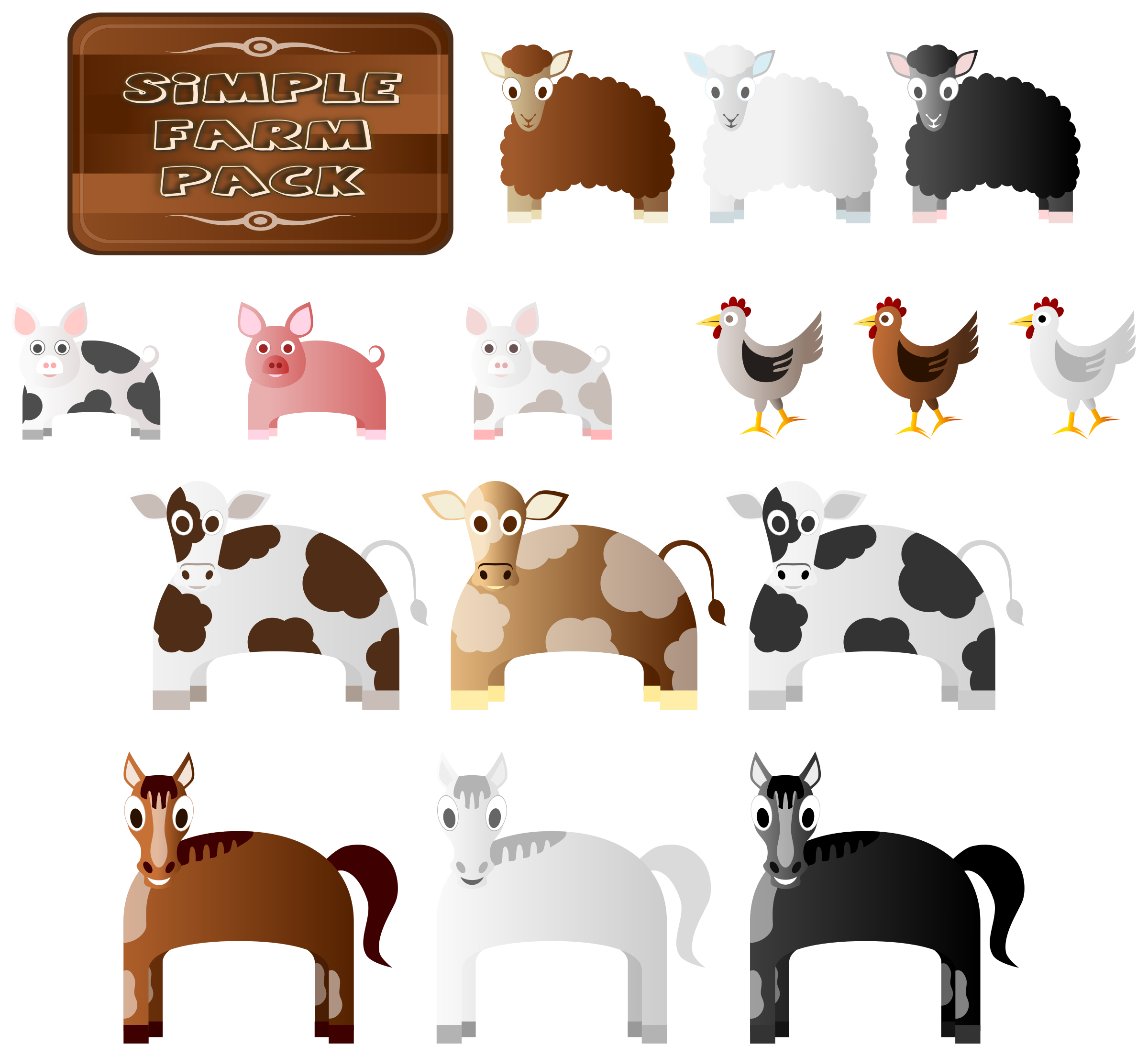 Simple Farm Animals by Viscious-Speed