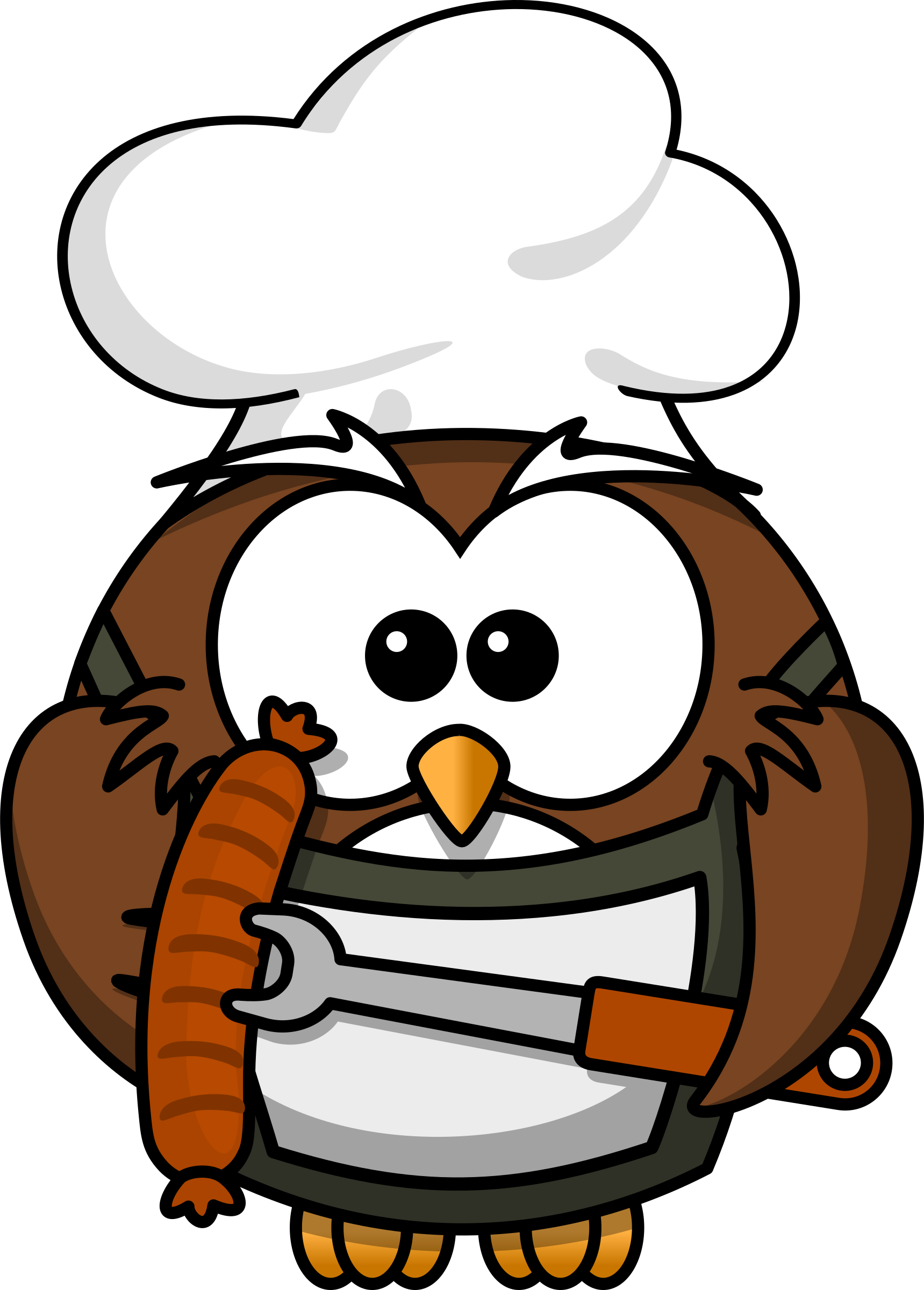 Owl with sausage by bocian