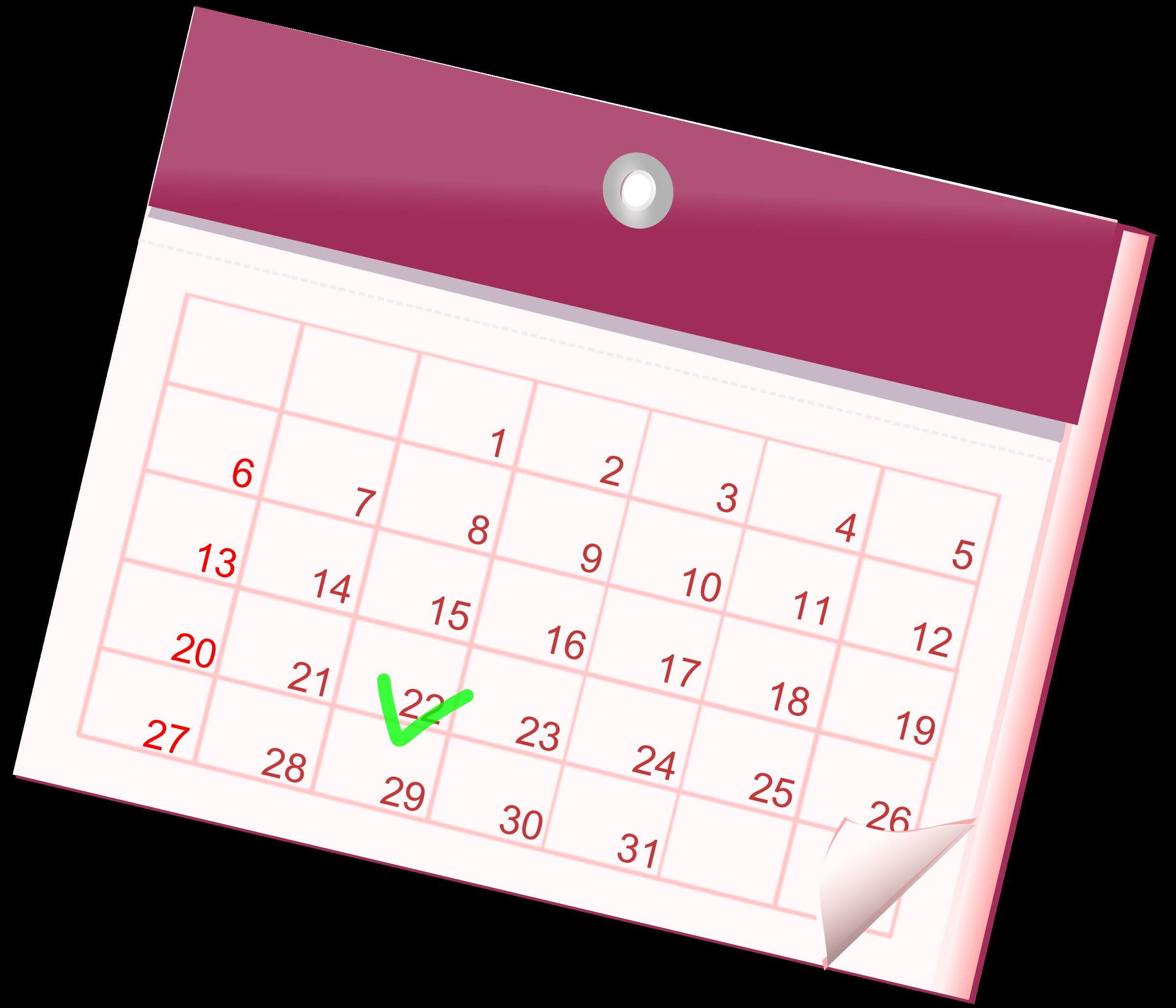 Monthly Calendar Clipart : Clipart calendar