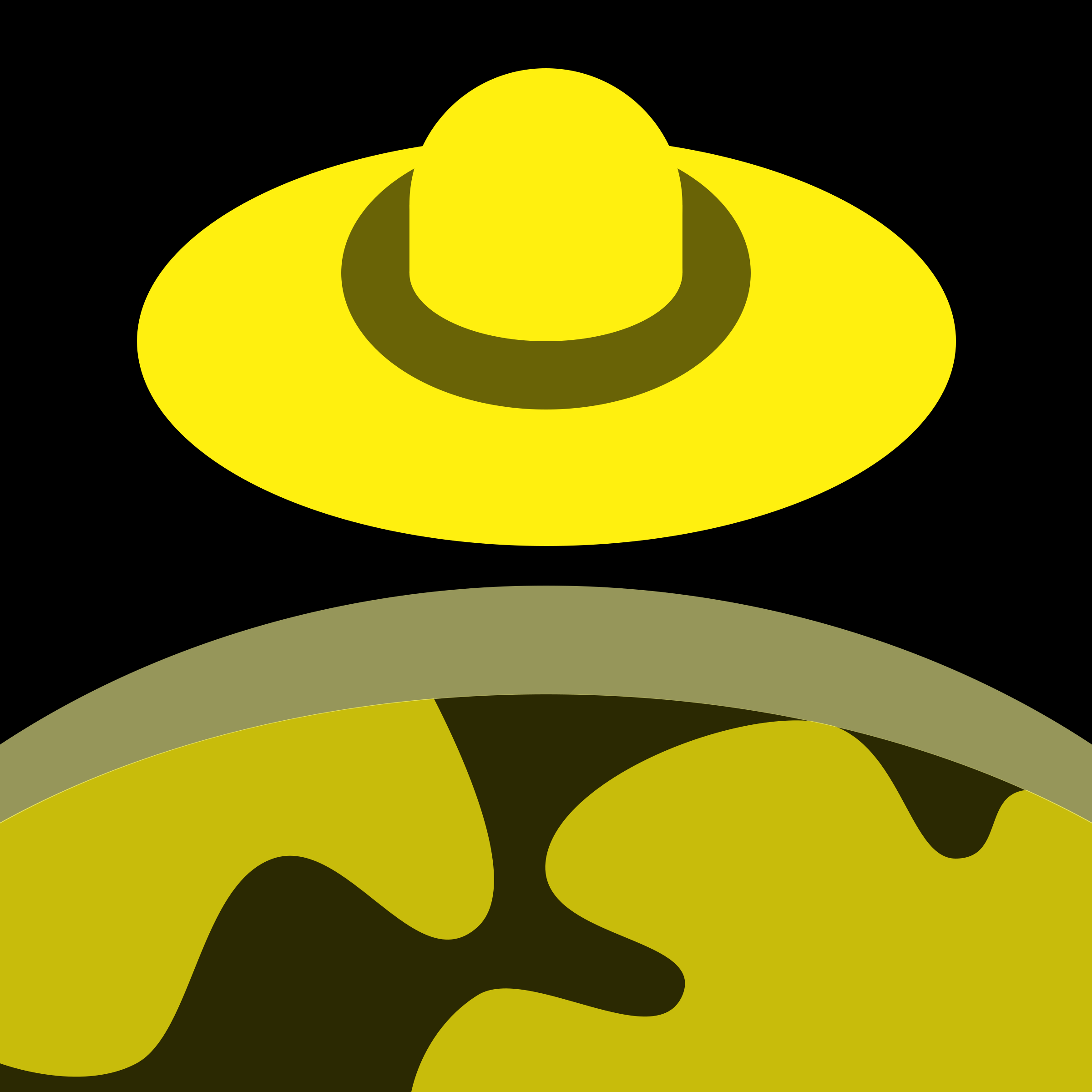 Yellow/Black UFO over planet 16px icon by qubodup