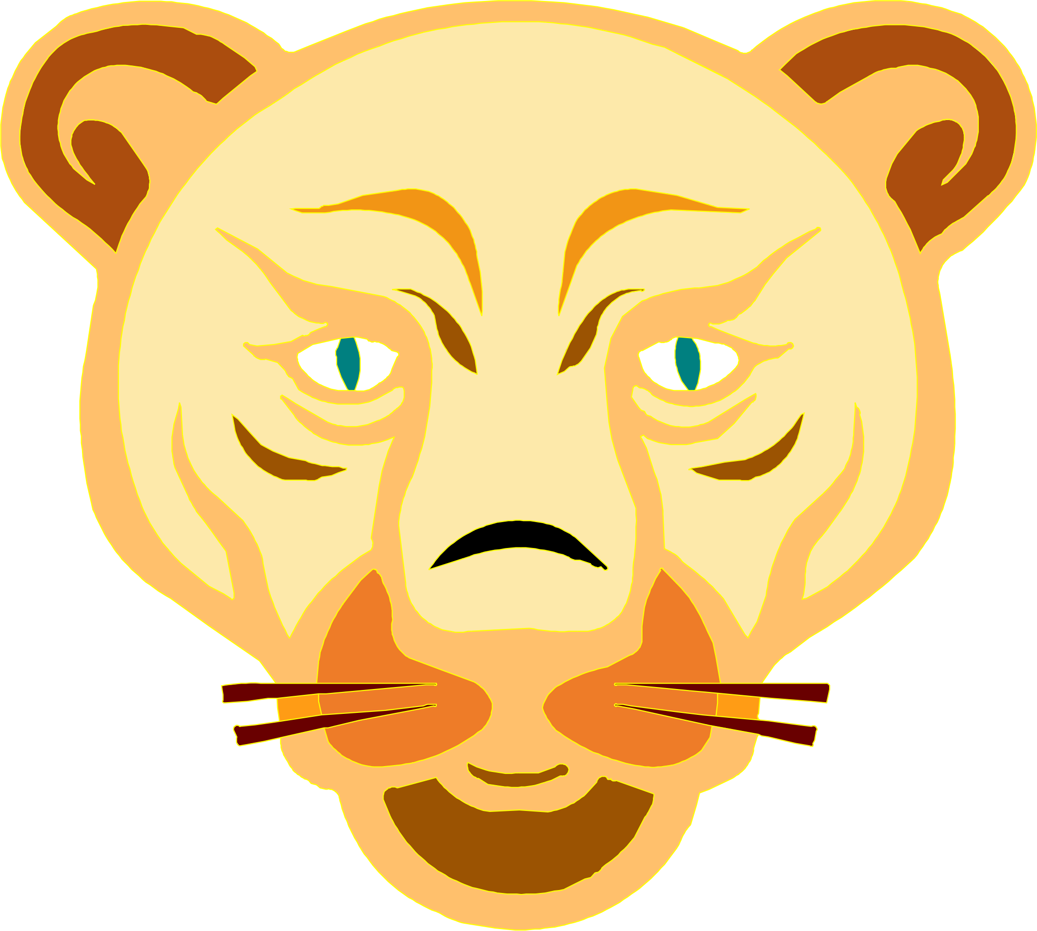 lion face by lakeside
