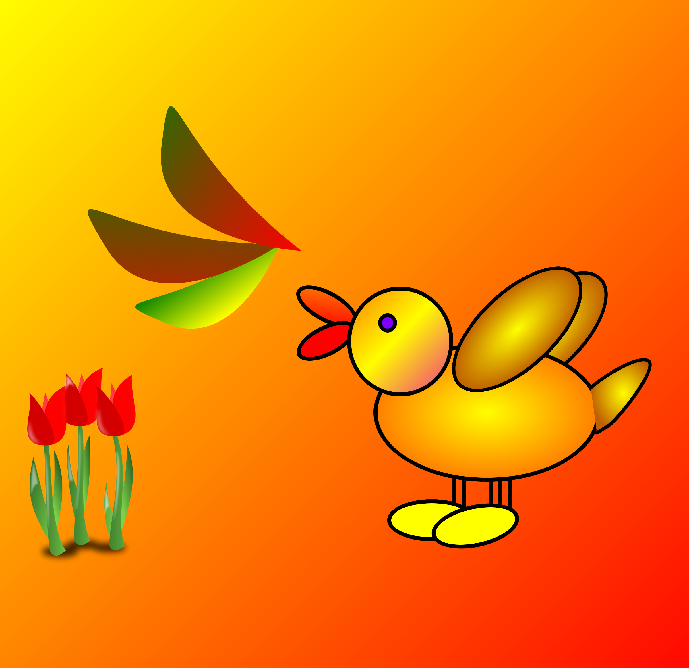 duck and flowers by Drori