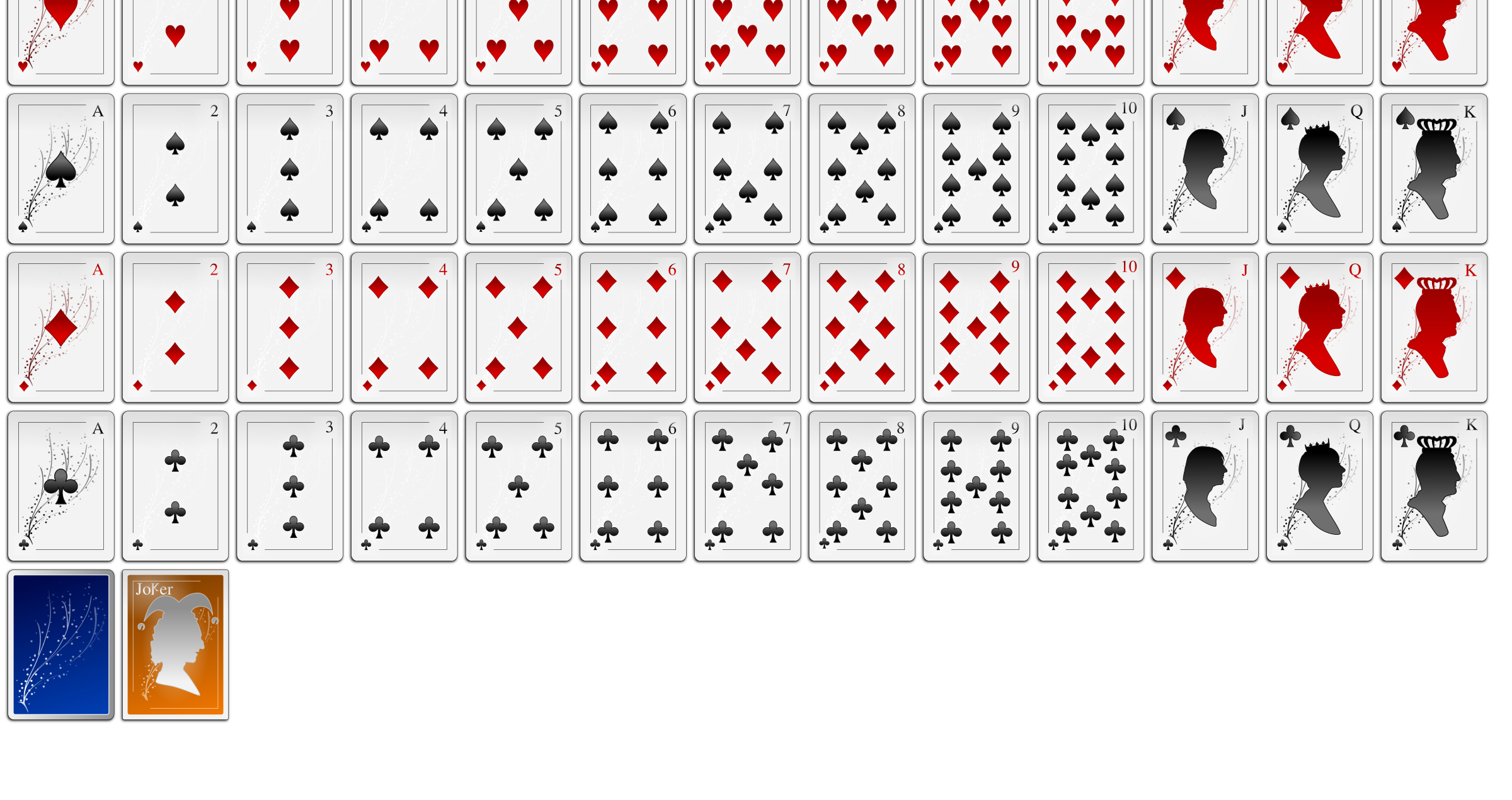 White Oxygen Playing Card Faces by Lone Coder
