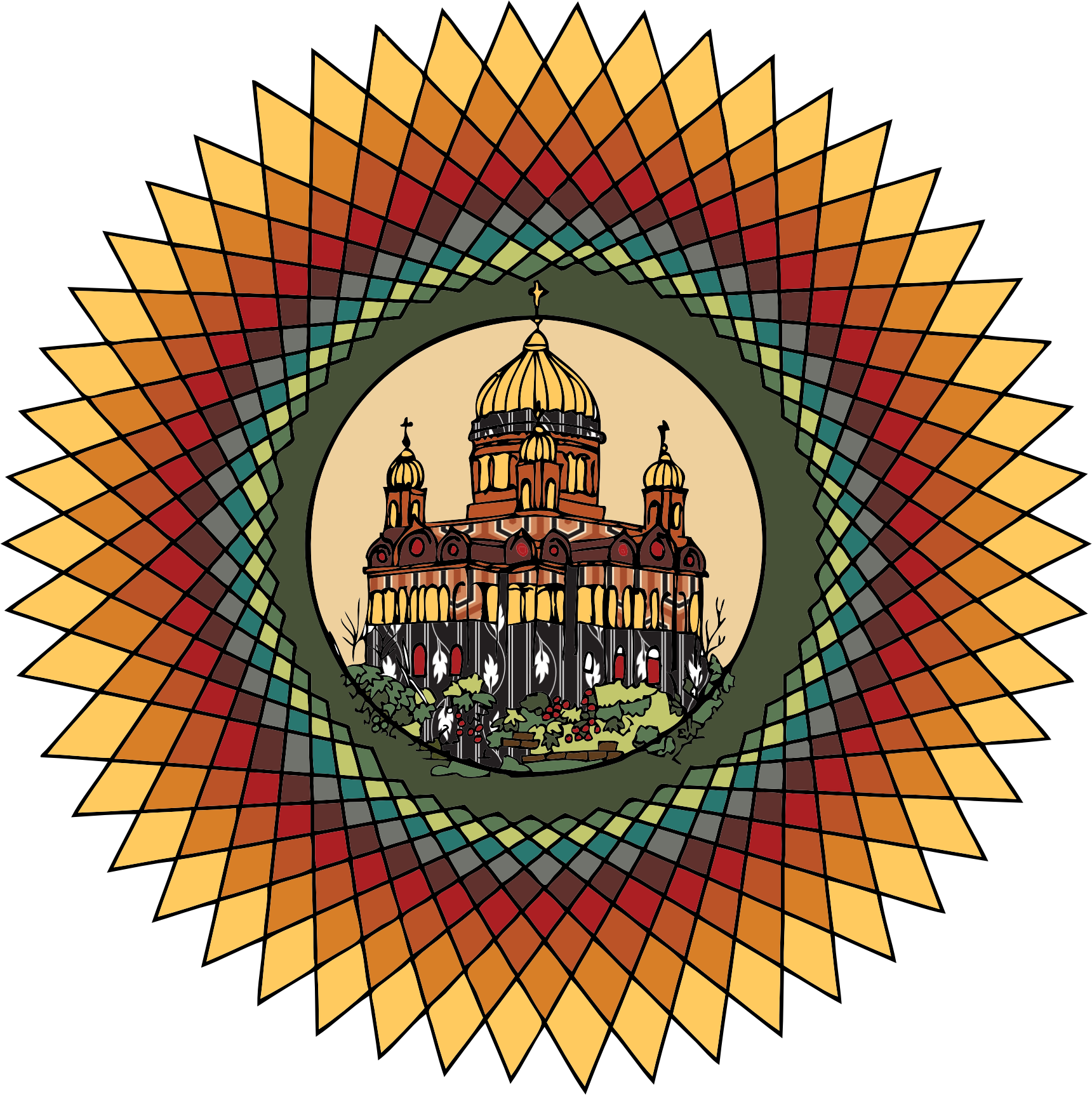 Mandala building in color by Fractalbee