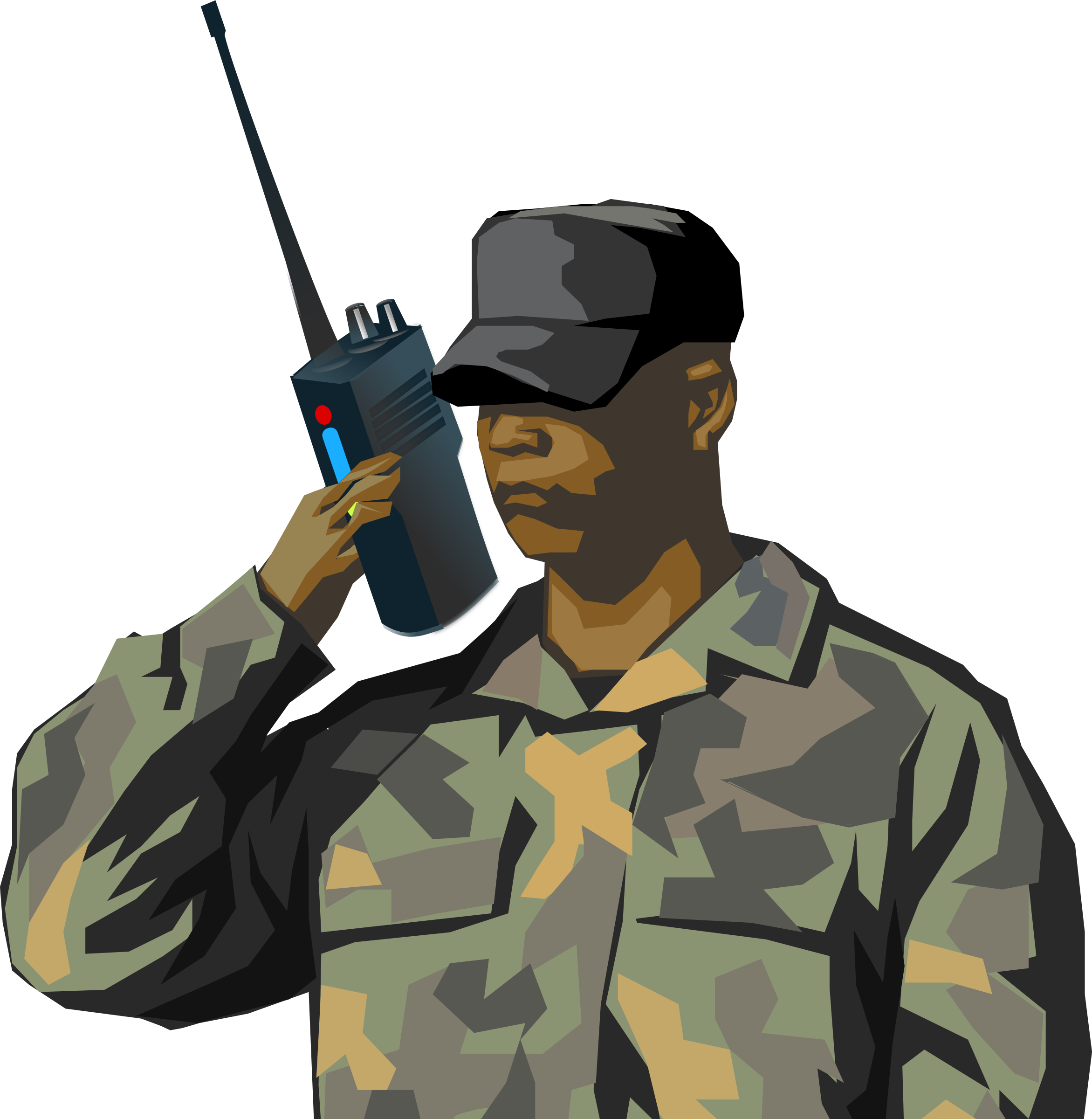 Soldier with walkie talkie radio by qubodup