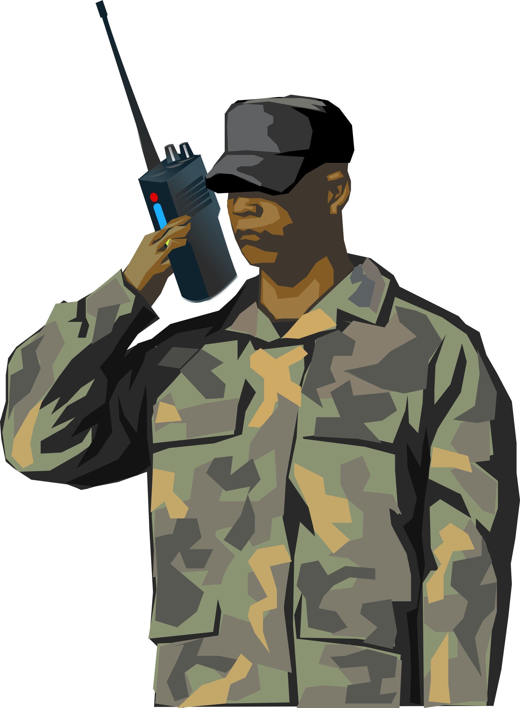 Soldier with walkie talkie radio (tall) by qubodup